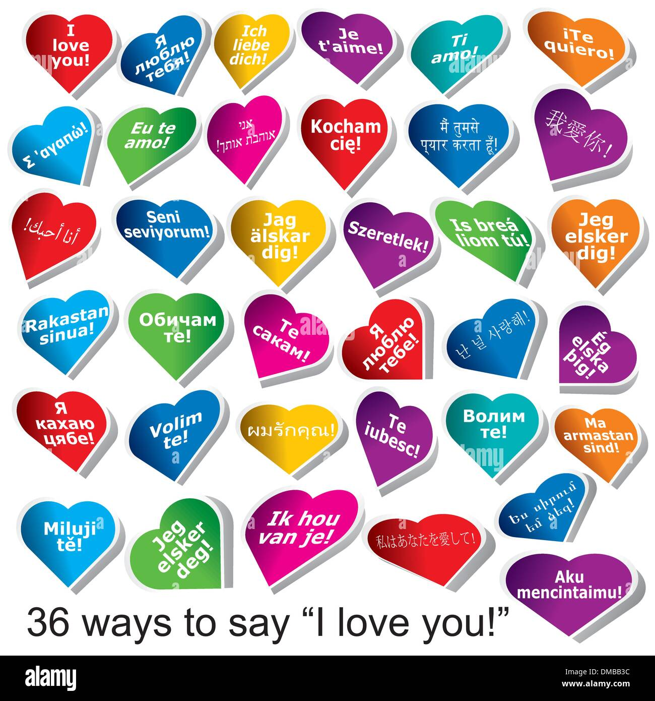 36 Ways To Say 'I Love You' - Stock Image