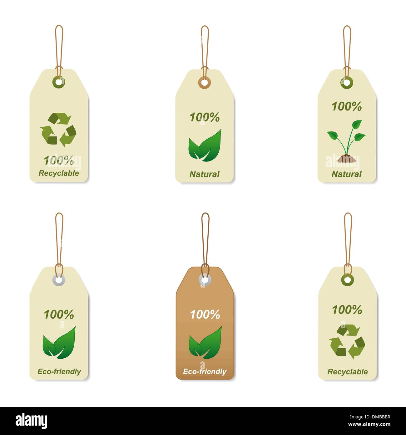 Recyclable and natural tags - Stock Image