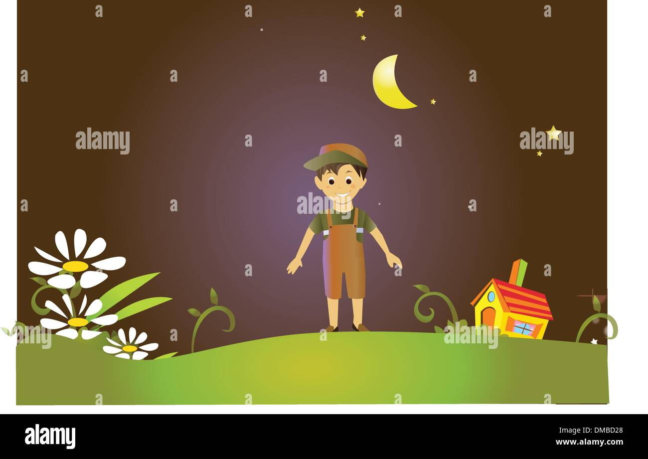 Boy in fairy land Stock Vector