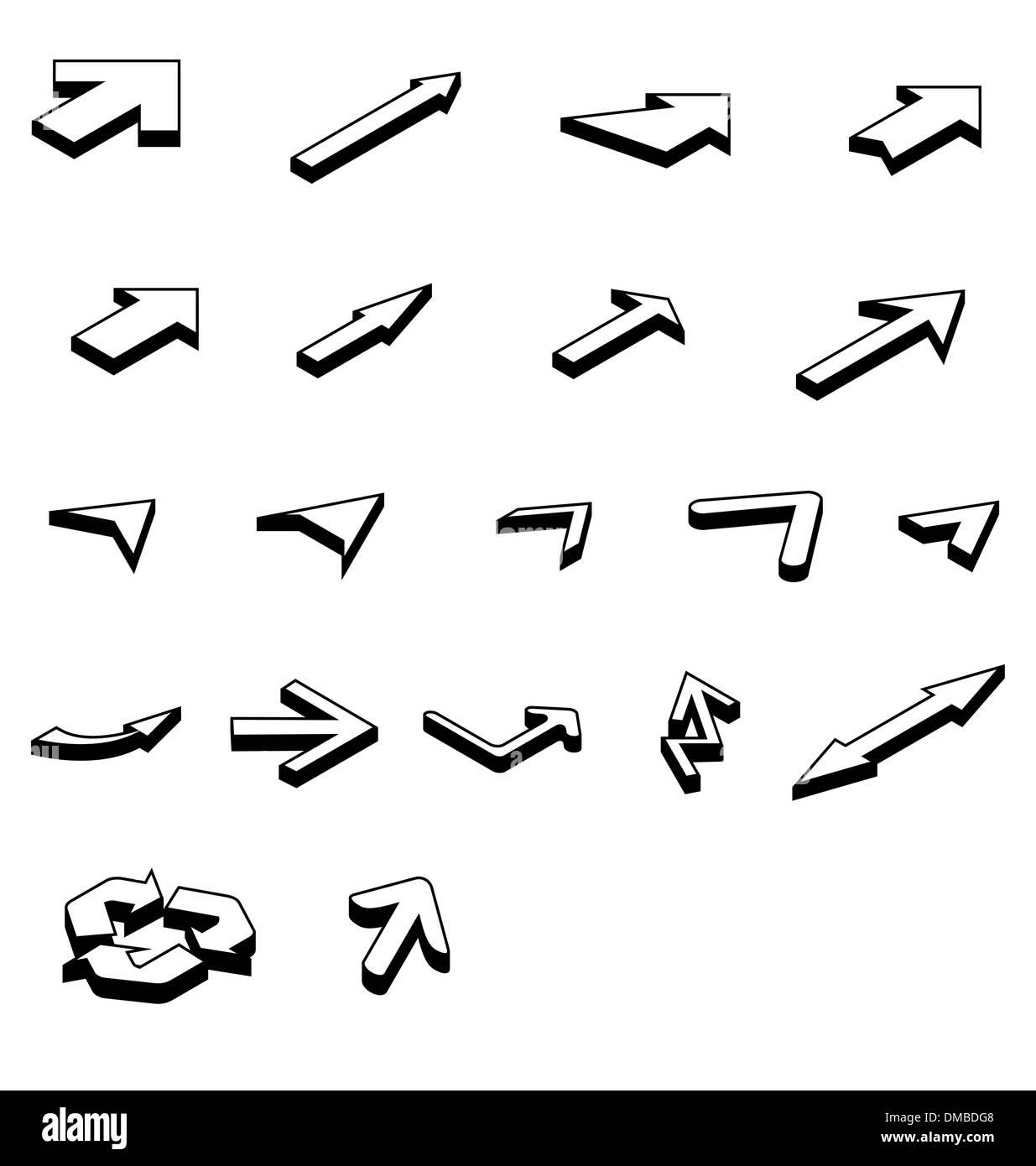 arrows isometric - Stock Image