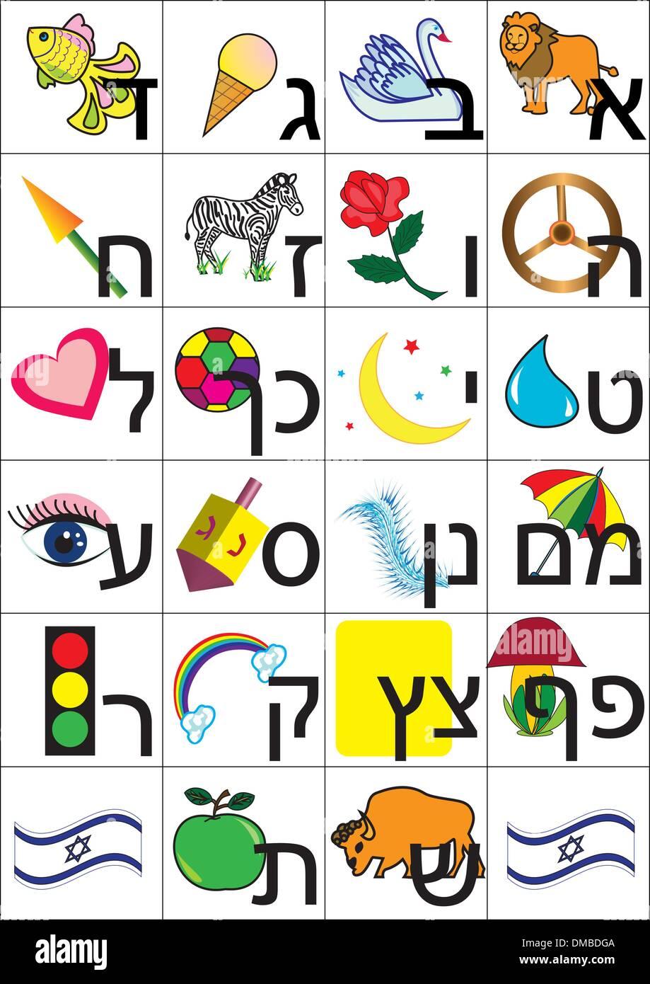 Hebrew alphabet - Stock Image