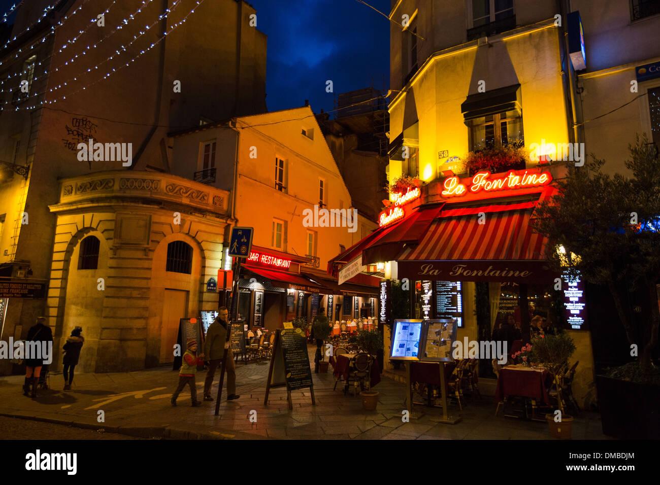 La Fontaine de la Mouffe restaurant on Rue Mouffetard in the Latin ...