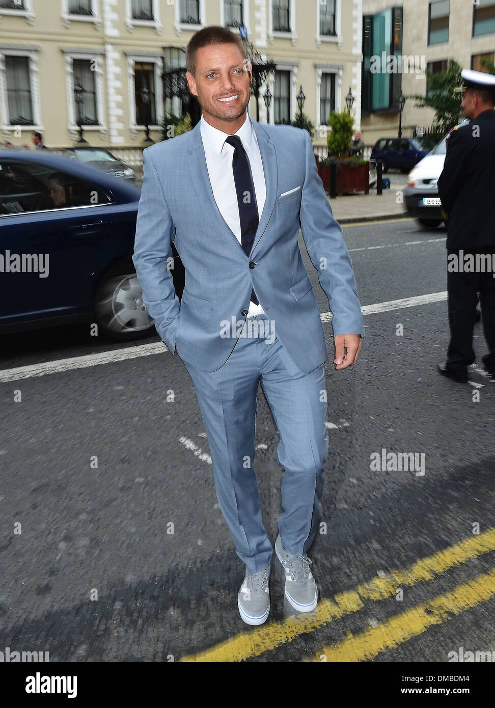 Keith Duffy out and about on Dawson Street wearing a blue grey suit ...