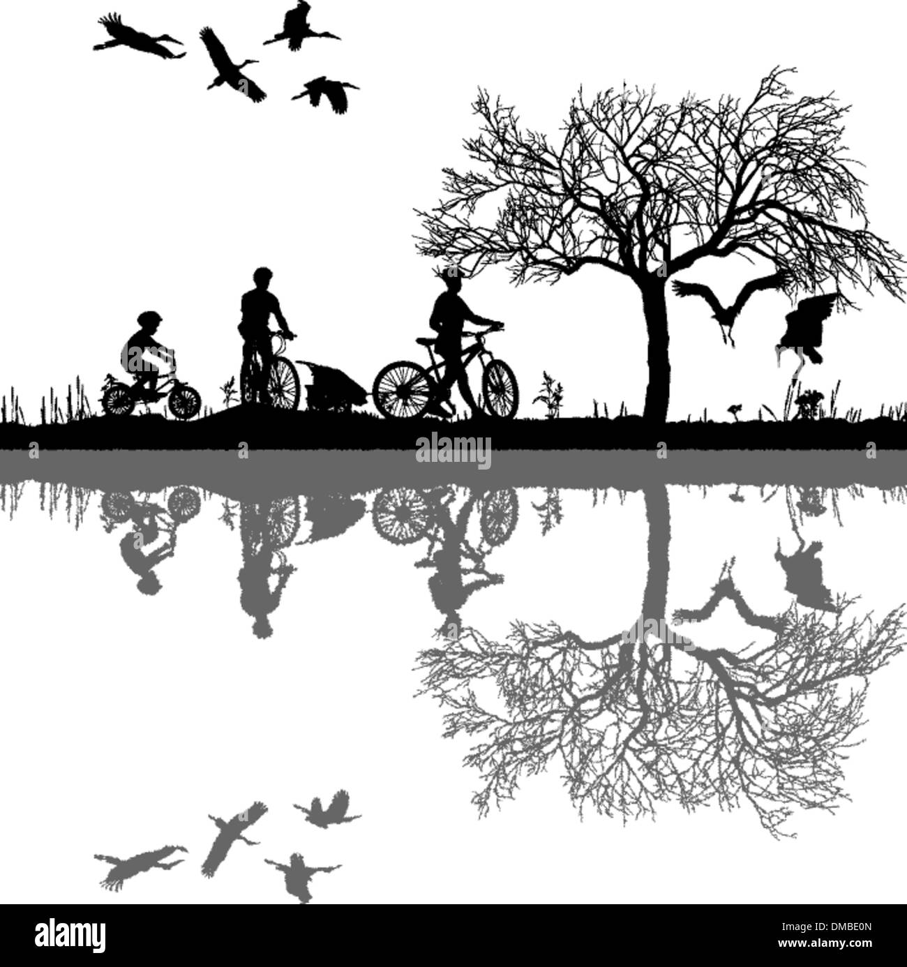 Family cycling on the edge of the lake - Stock Vector