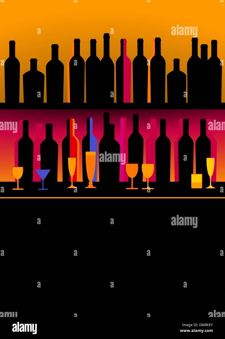 Bottles of spirits and liquor Stock Vector