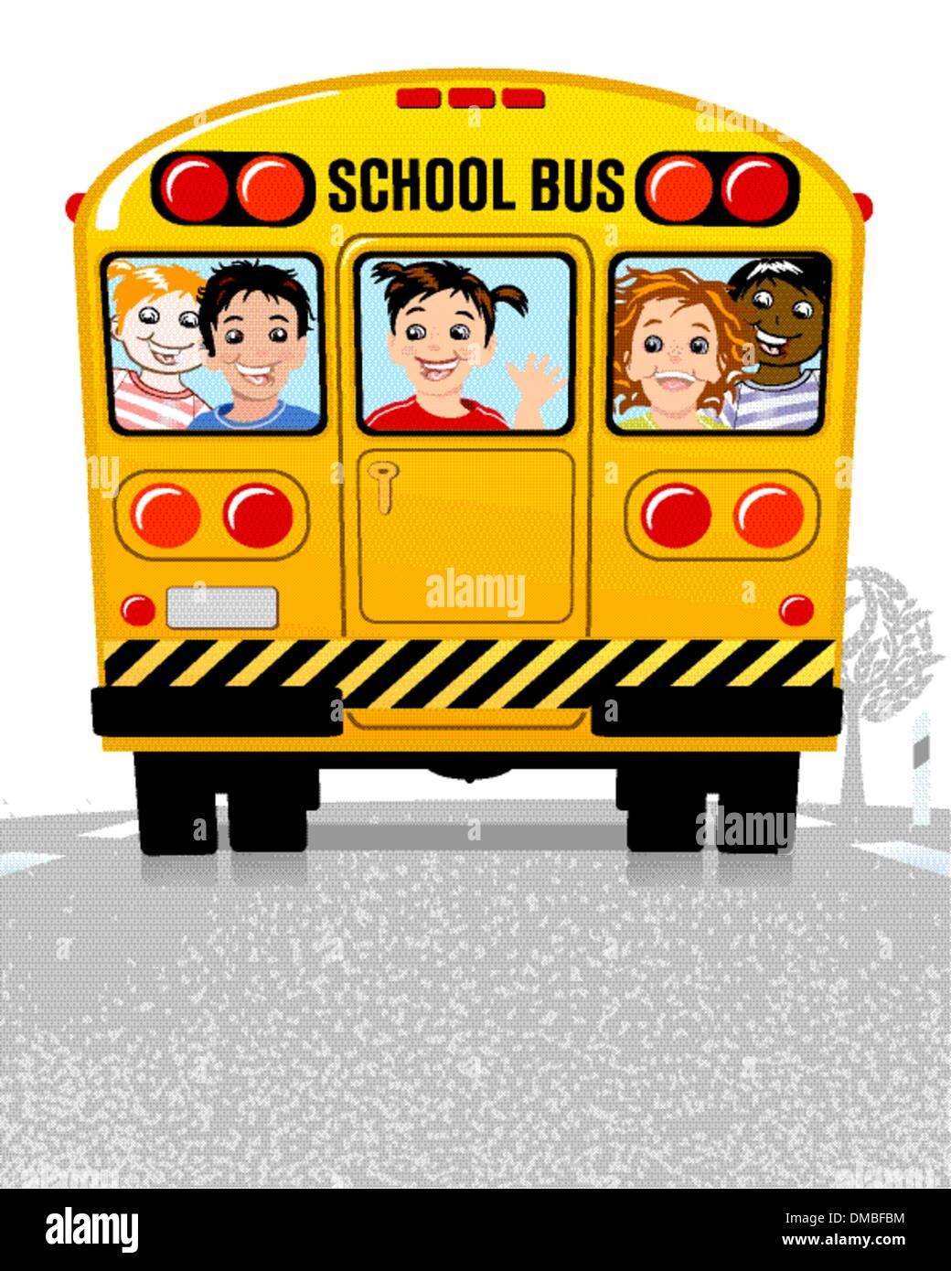 yellow school bus - Stock Vector
