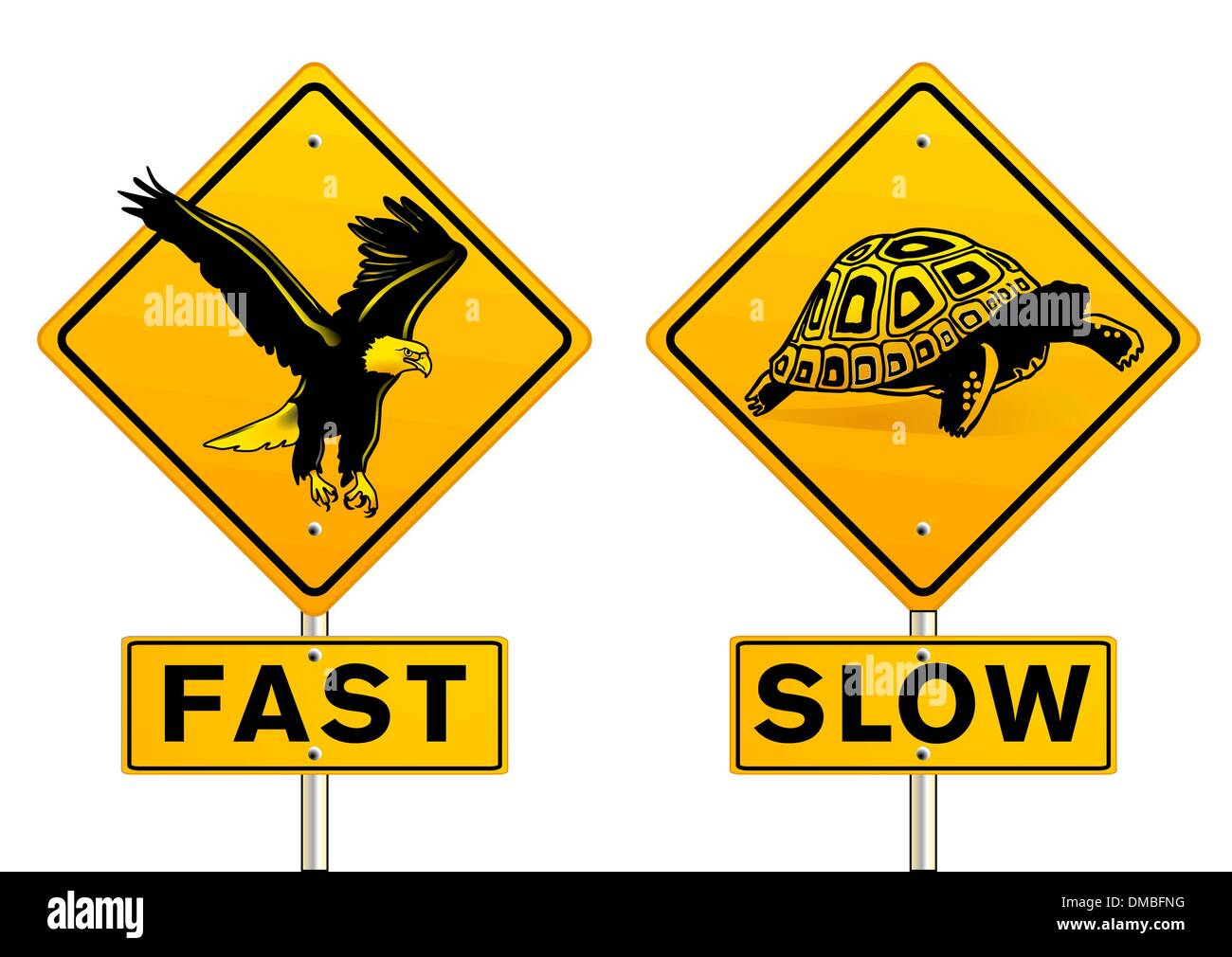 fast and slow sign - Stock Image