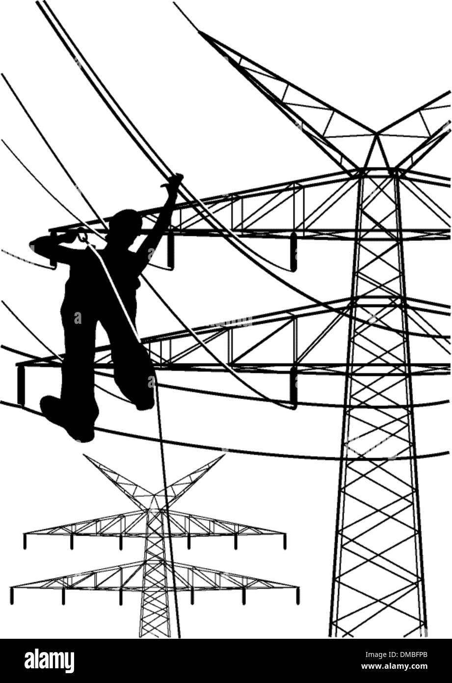 electrical tower constructions works - Stock Image