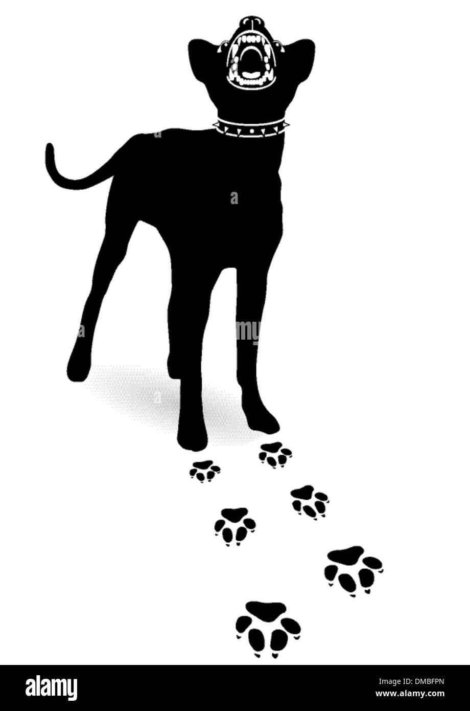 Caution dangerous dog - Stock Vector