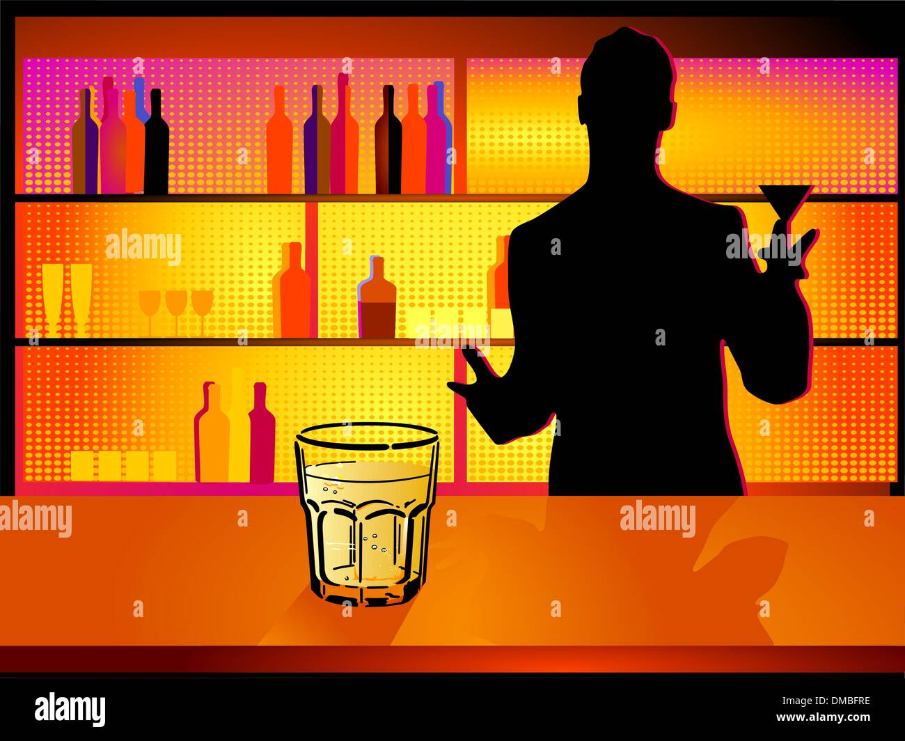 nightclub and barman Stock Vector