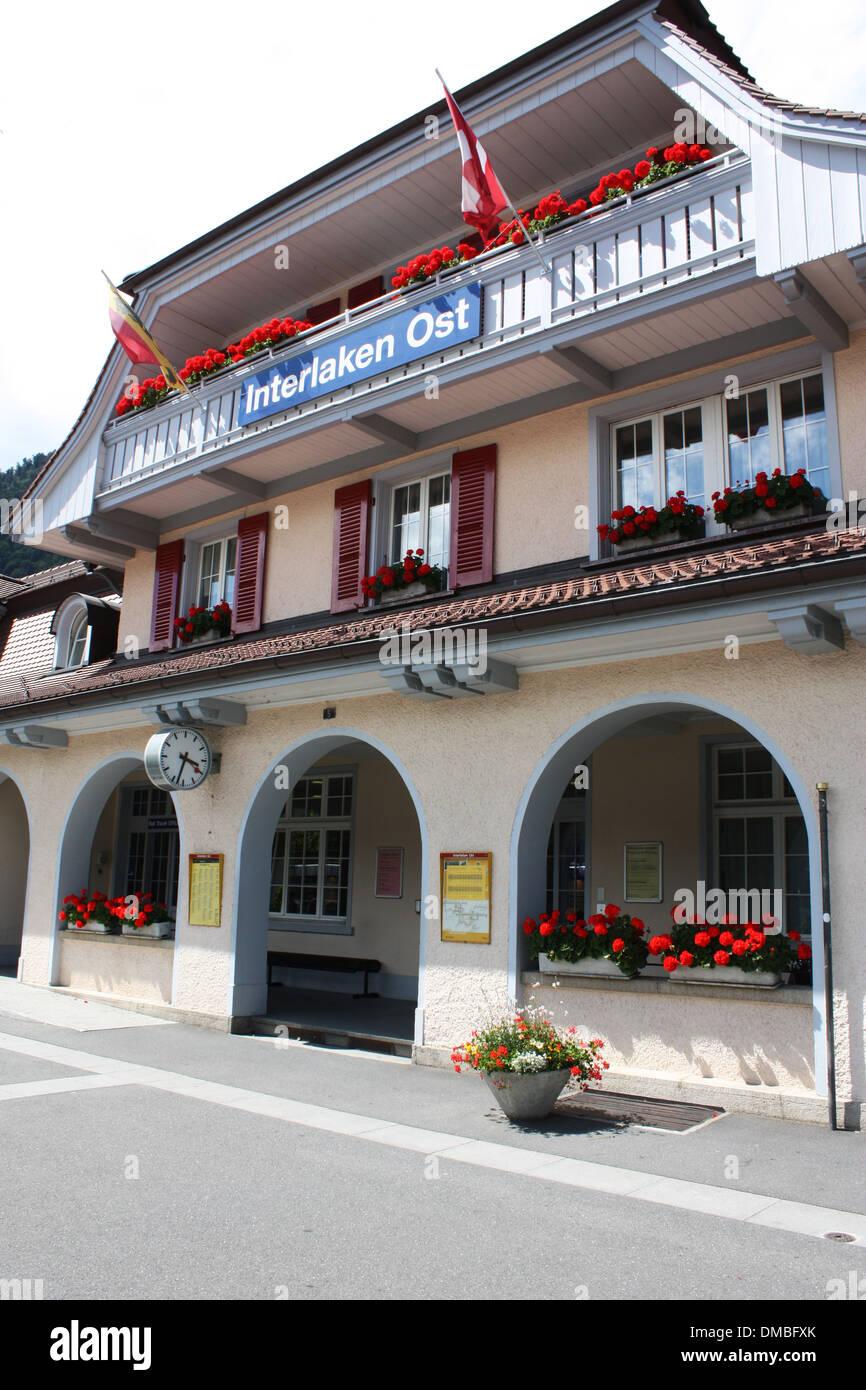 Interlaken Ost station in Switzerland Stock Photo