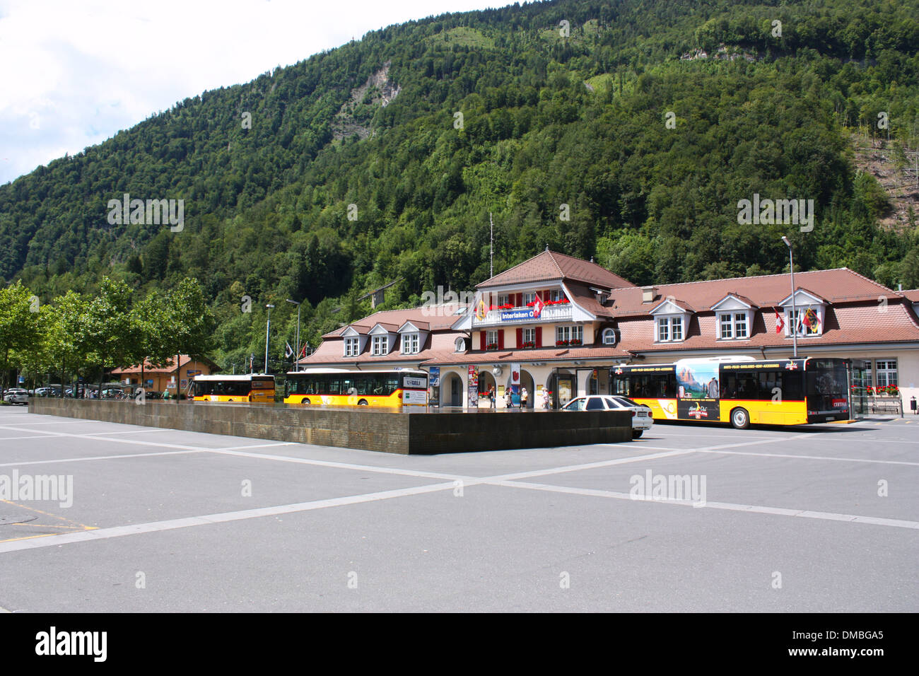 Interlaken Ost bus station in Switzerland - Stock Image