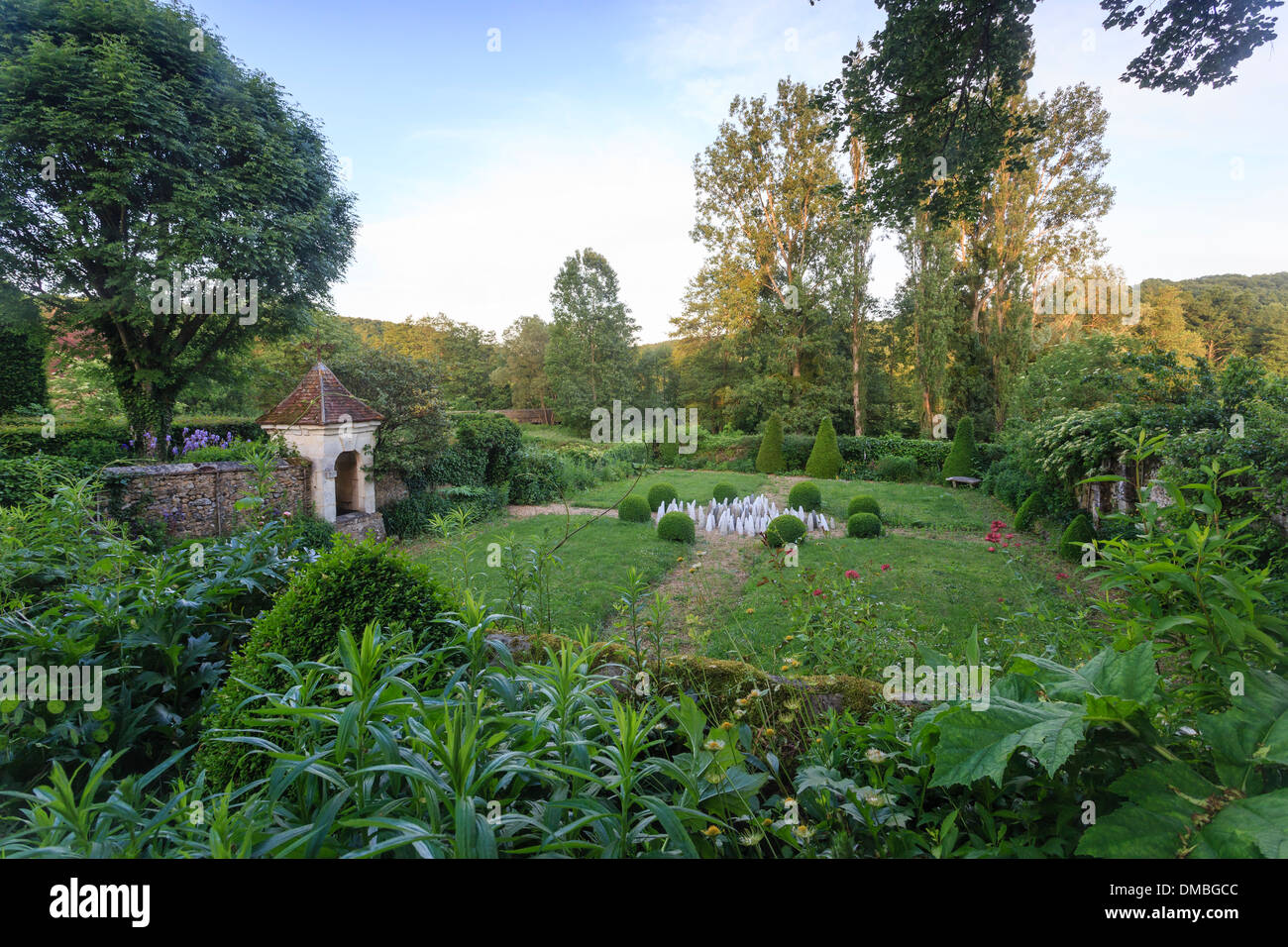 France, Orne, Monceaux au Perche, Pontgirard manor, the walled garden, with a central work, Spikes, by Mechthild Kalisky - Stock Image