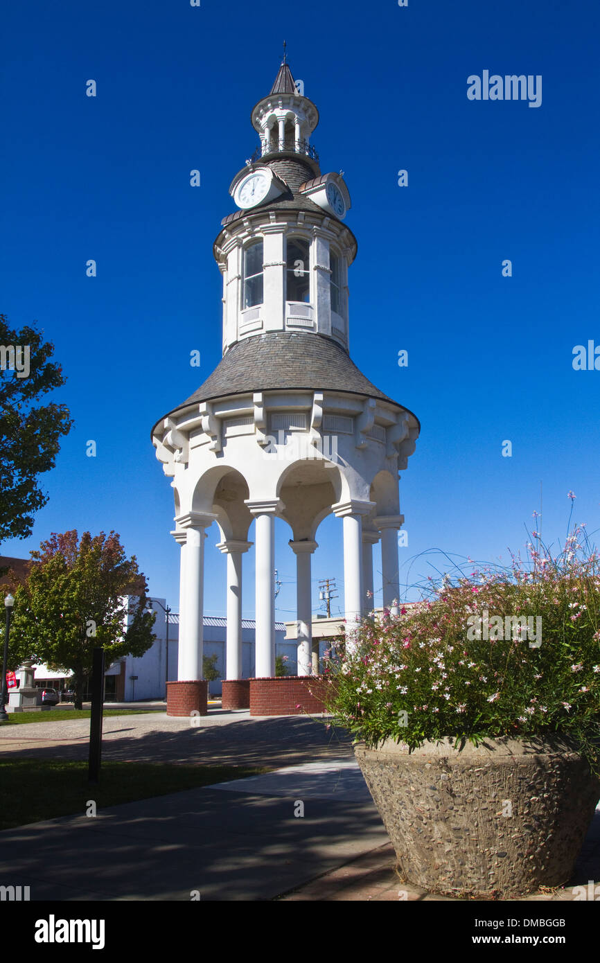 Town Clock Tower Plaza Red Bluff California USA - Stock Image