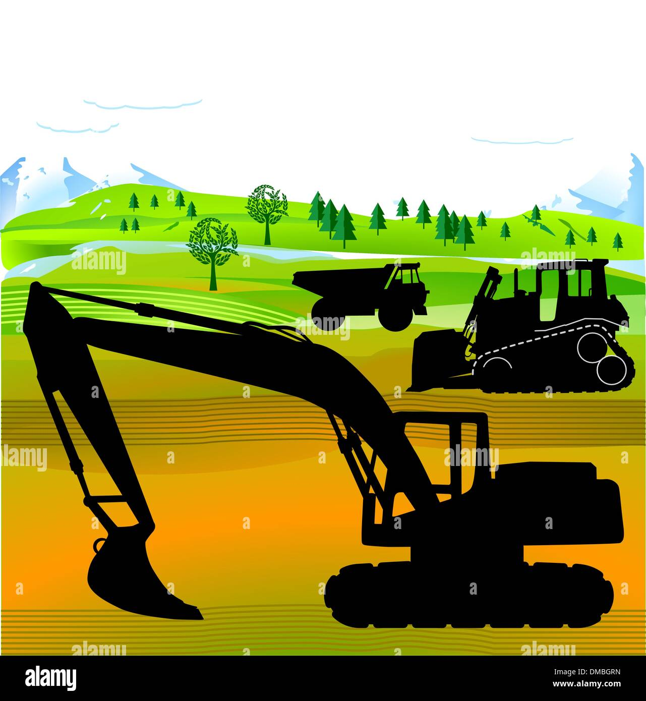 excavator and bulldozer - Stock Image
