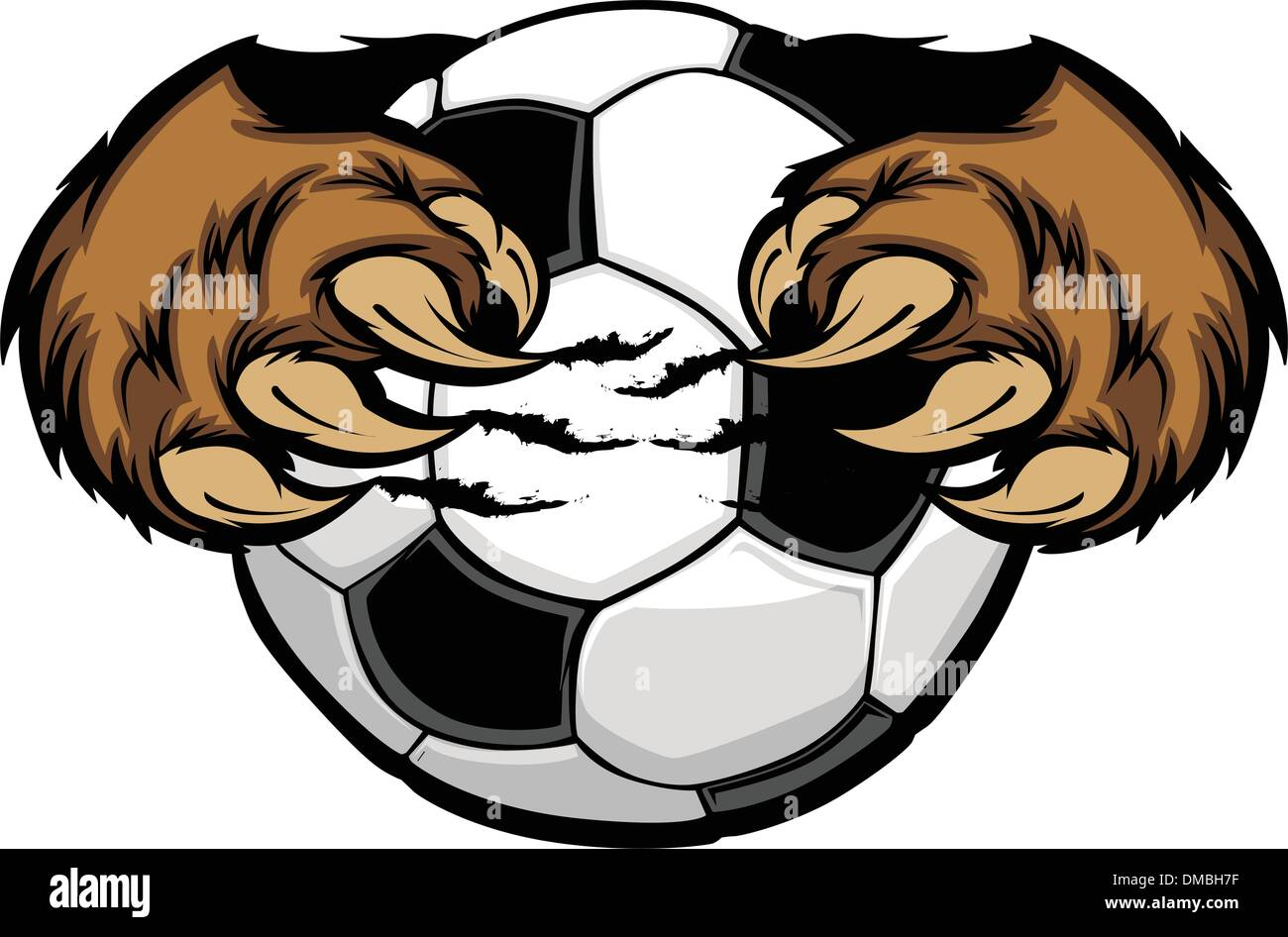 Soccer Ball With Bear Claws Vector Image - Stock Image