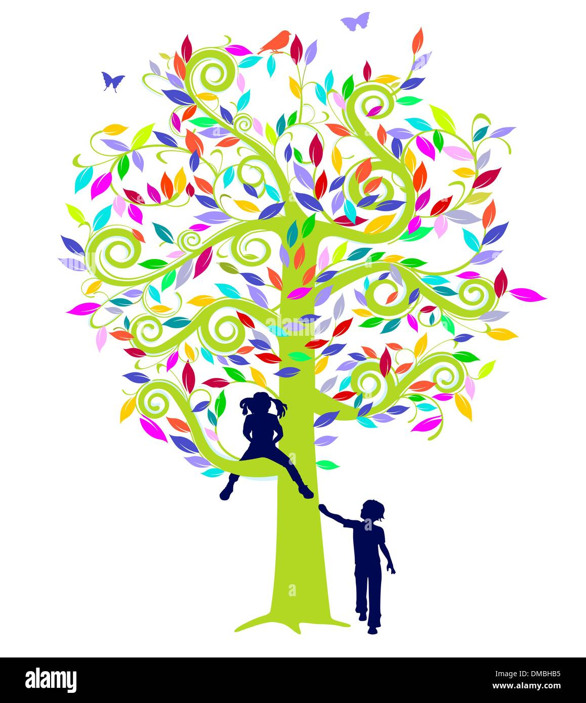 color tree and children - Stock Image