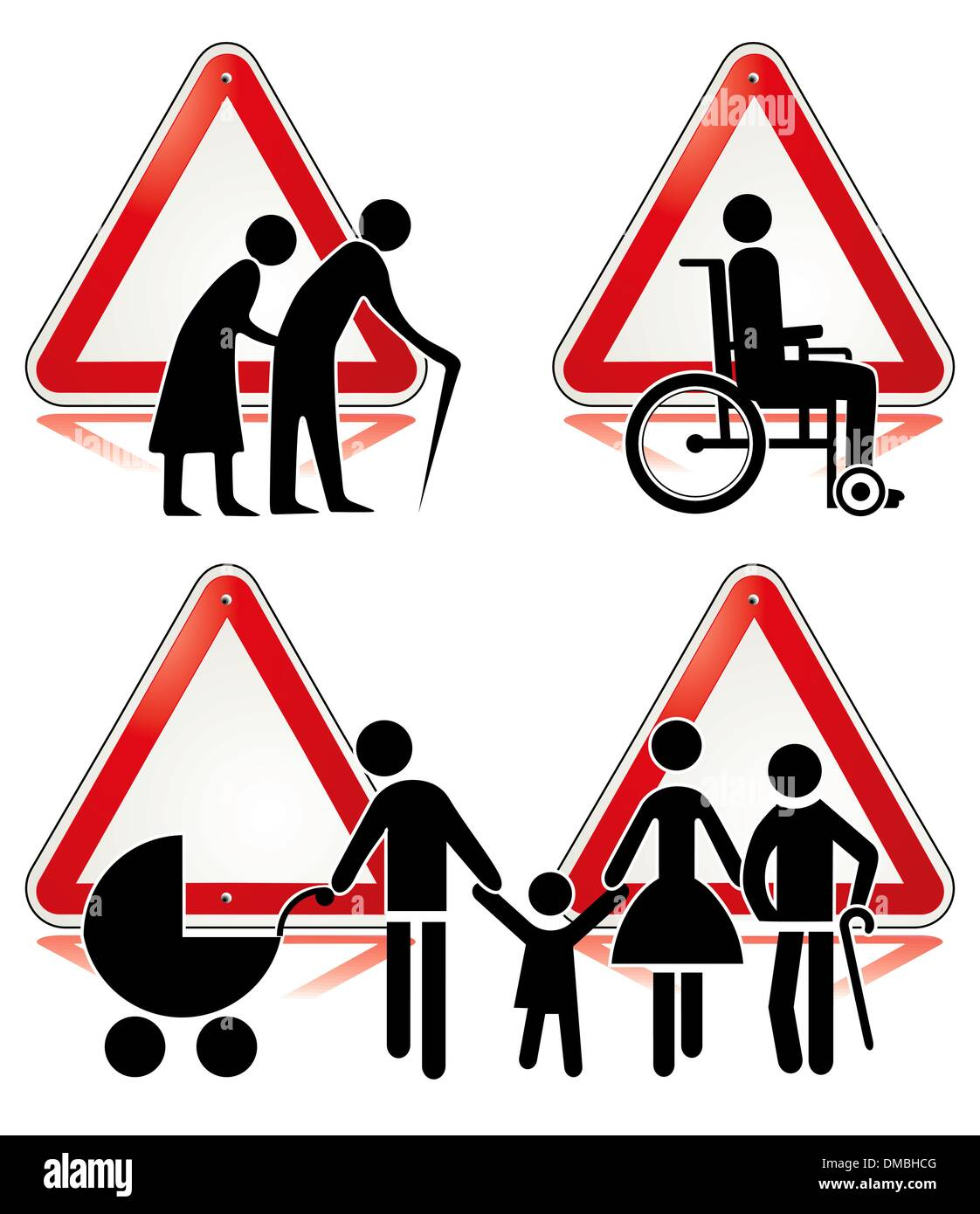 collection of handicap signs - Stock Image