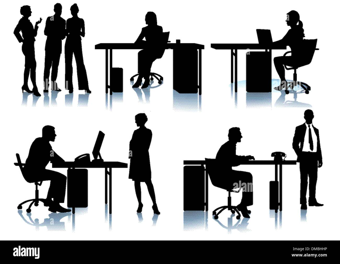 Businessmen and employees in the office - Stock Vector