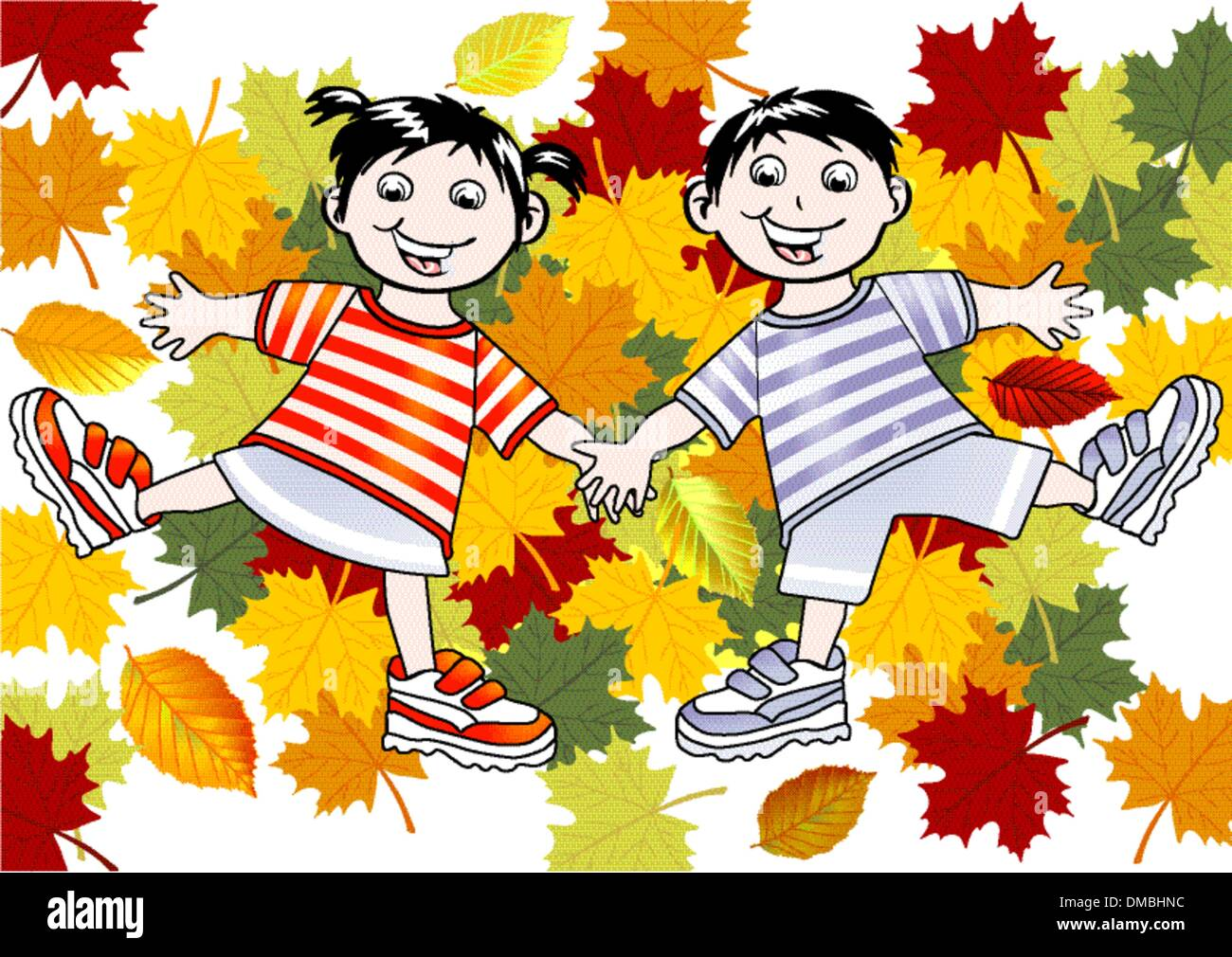 Children playing in the leaves - Stock Image
