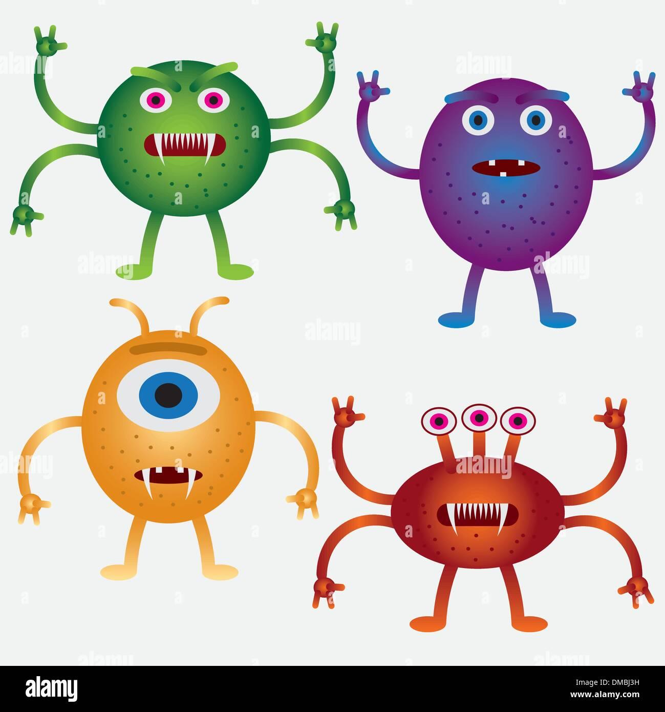 Set of cartoon microbes. - Stock Image