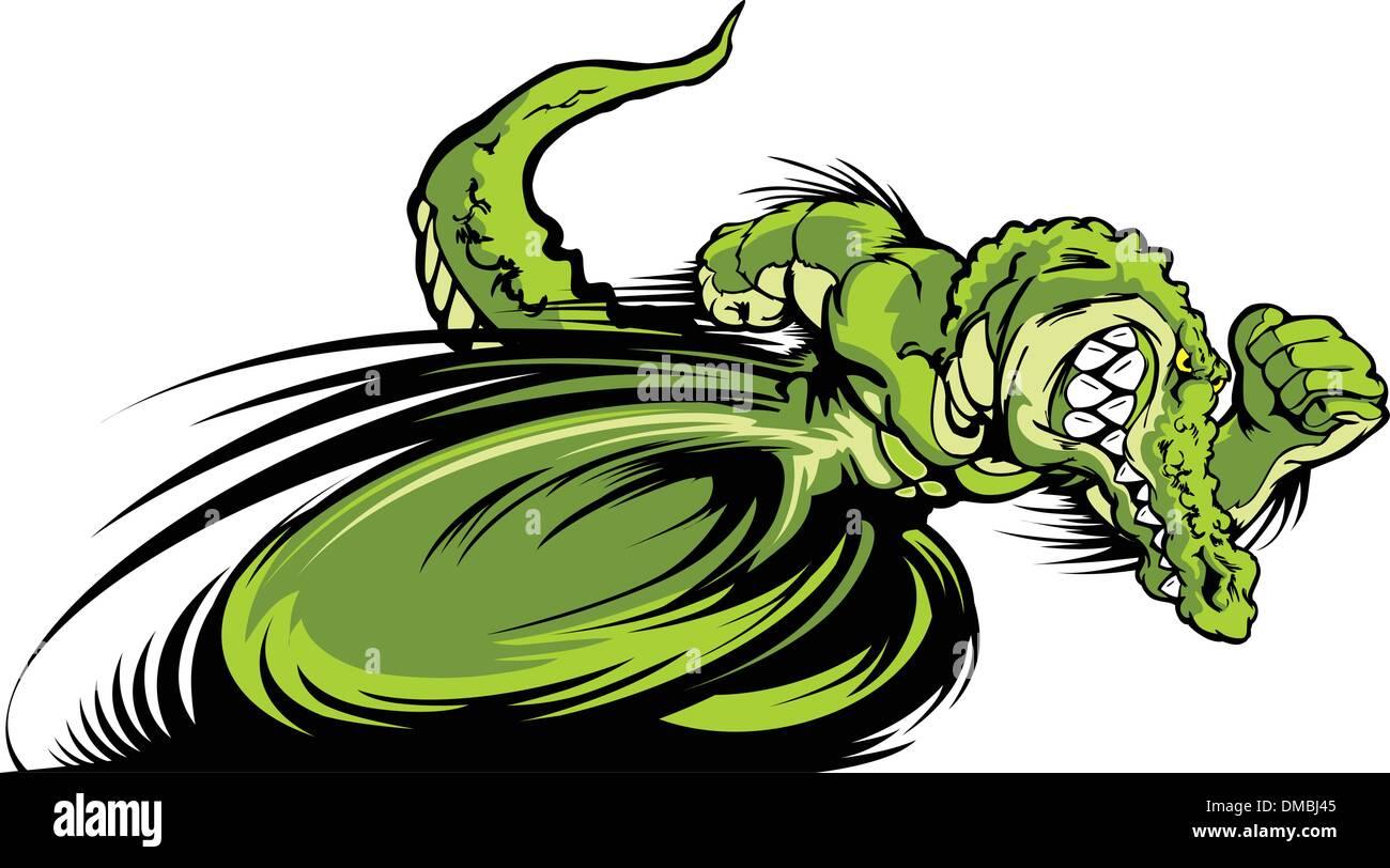 Racing Gator or Croc Mascot Graphic Vector Image - Stock Image