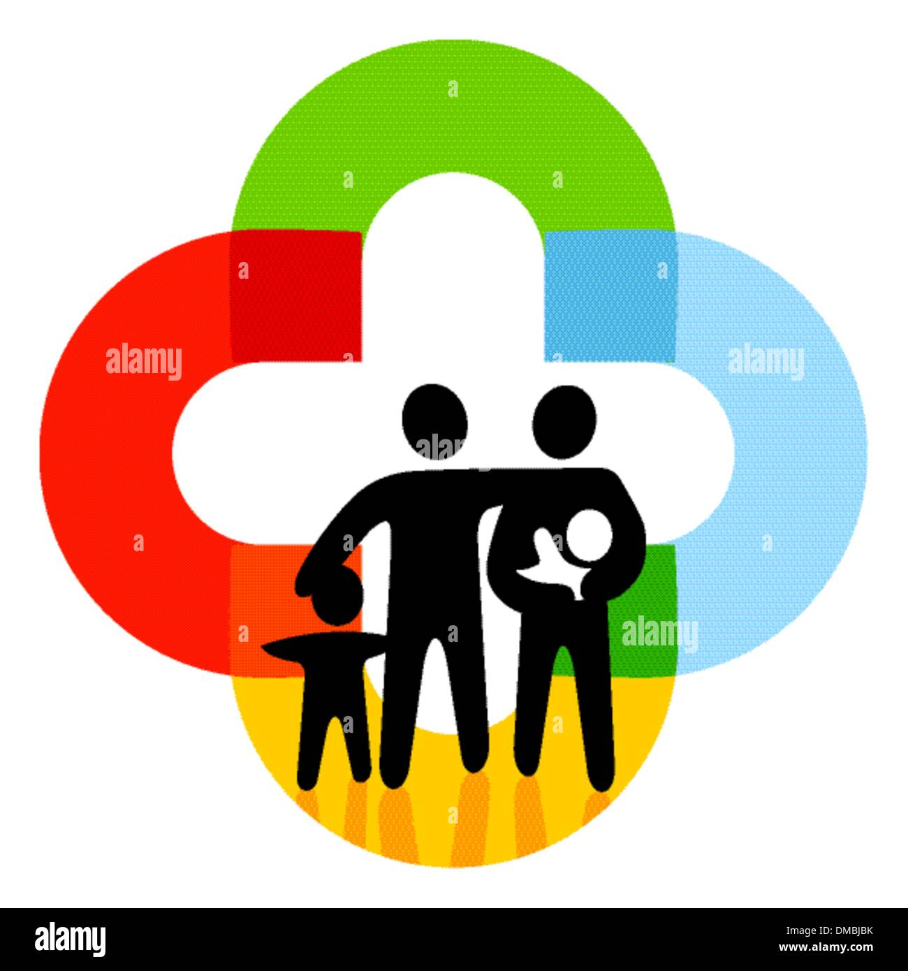 Family on colored characters - Stock Vector