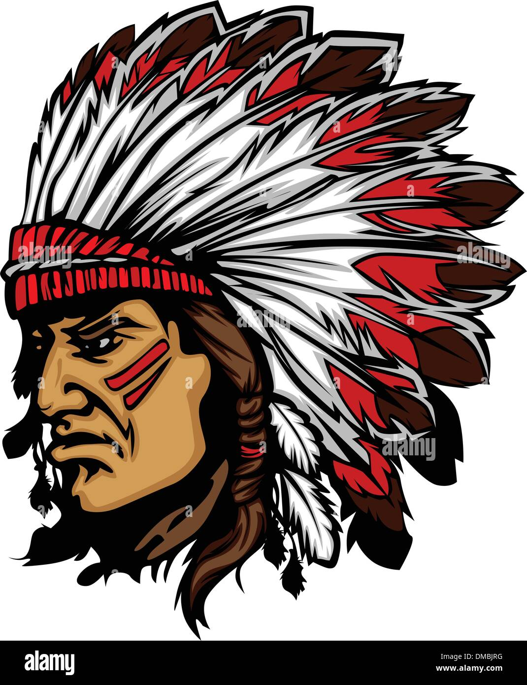 Indian Chief Mascot Head Vector Graphic - Stock Image