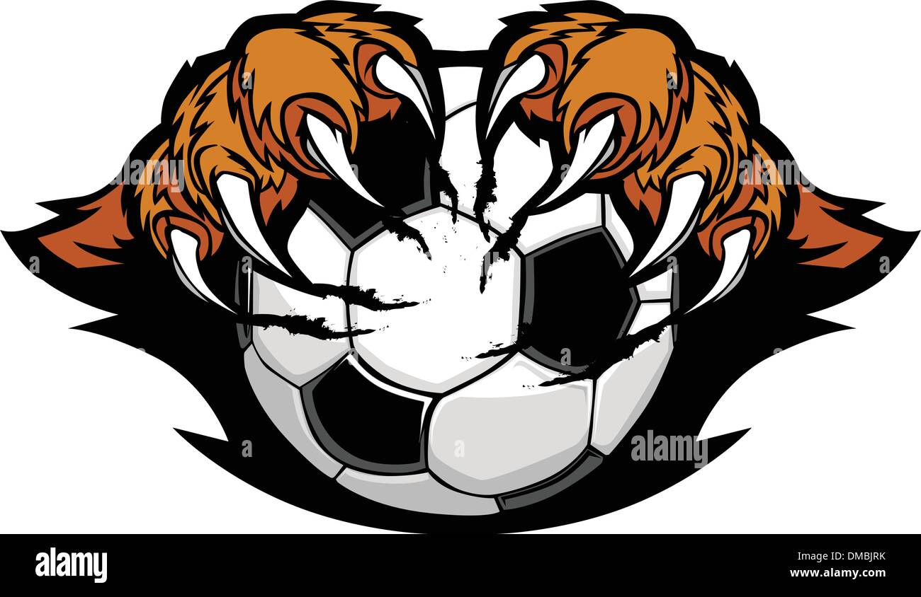 Soccer Ball With Tiger Claws Vector Image - Stock Vector