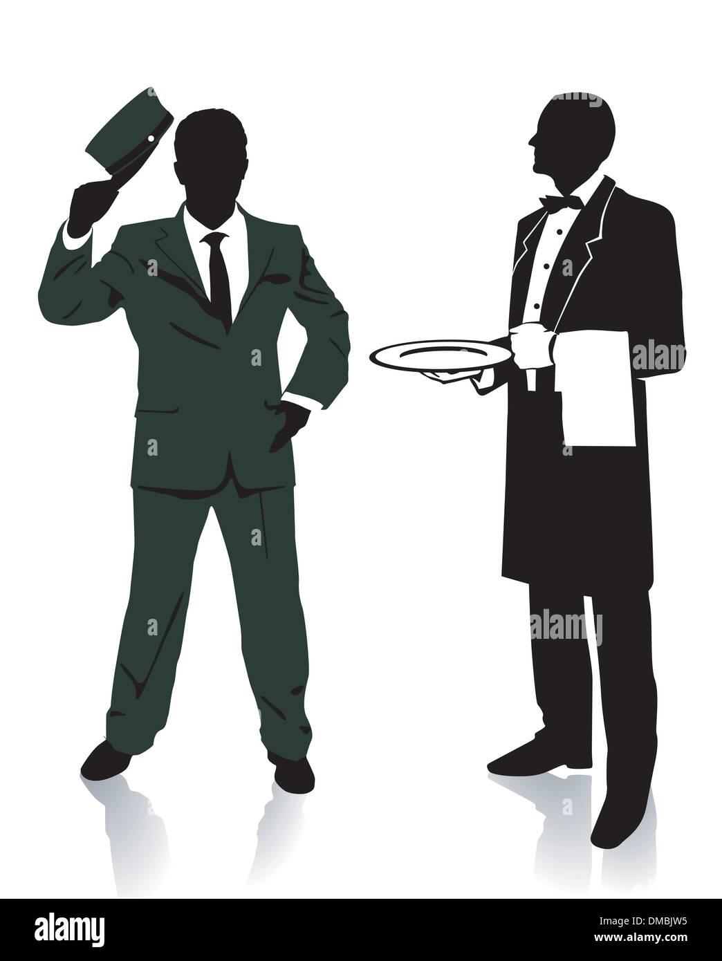 Waiter and porter - Stock Image