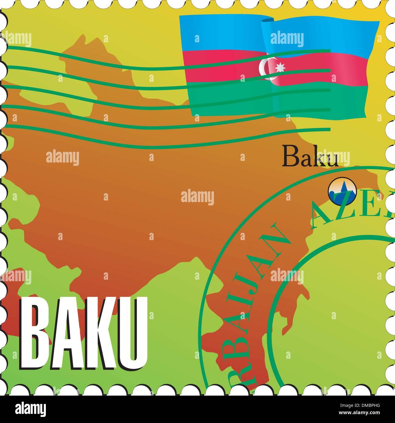 Baku - capital of Azerbaijan. Vector stamp - Stock Vector