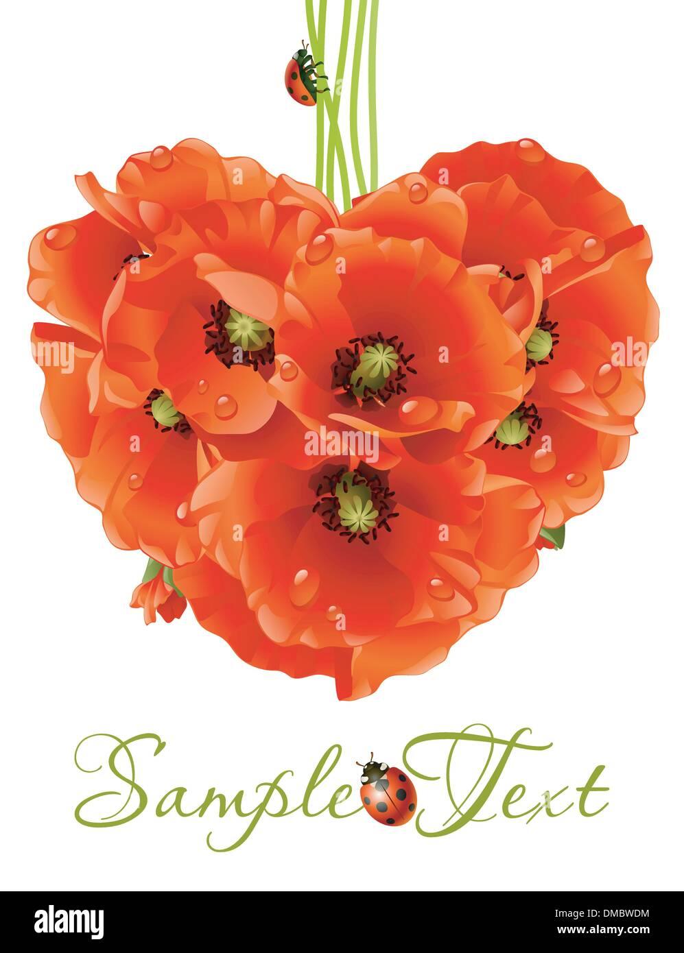 Floral love card (poppy heart) - Stock Vector
