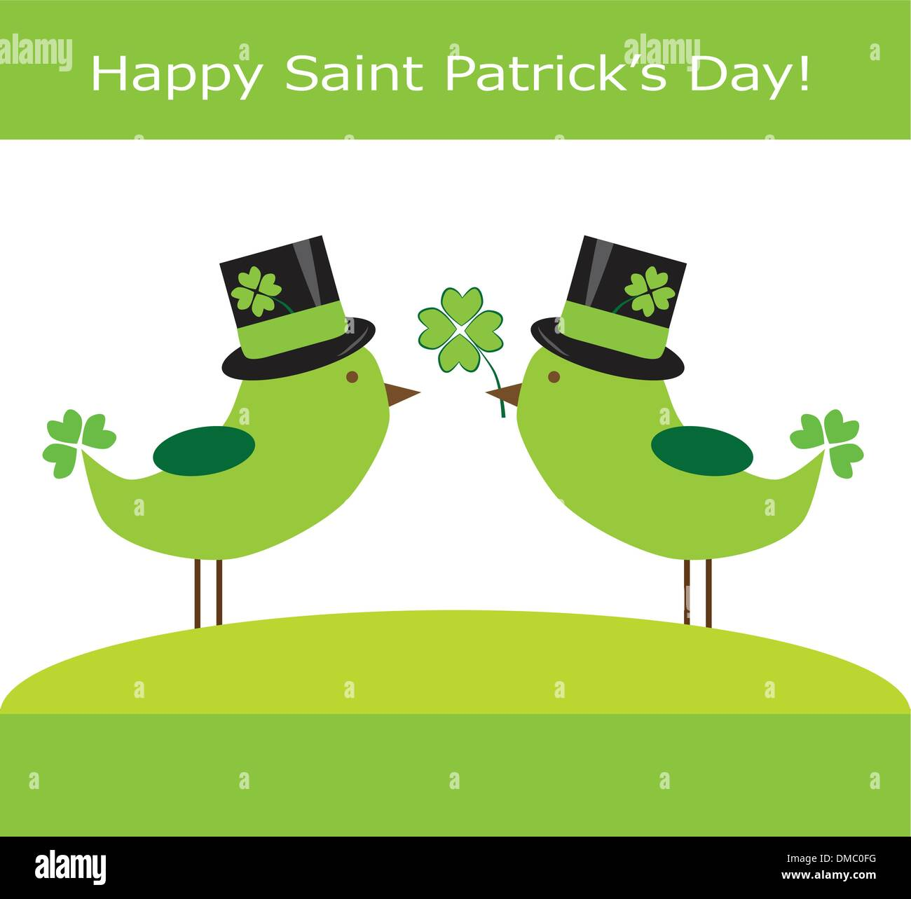 Happy Saint Patrick's Day Birds - Stock Image