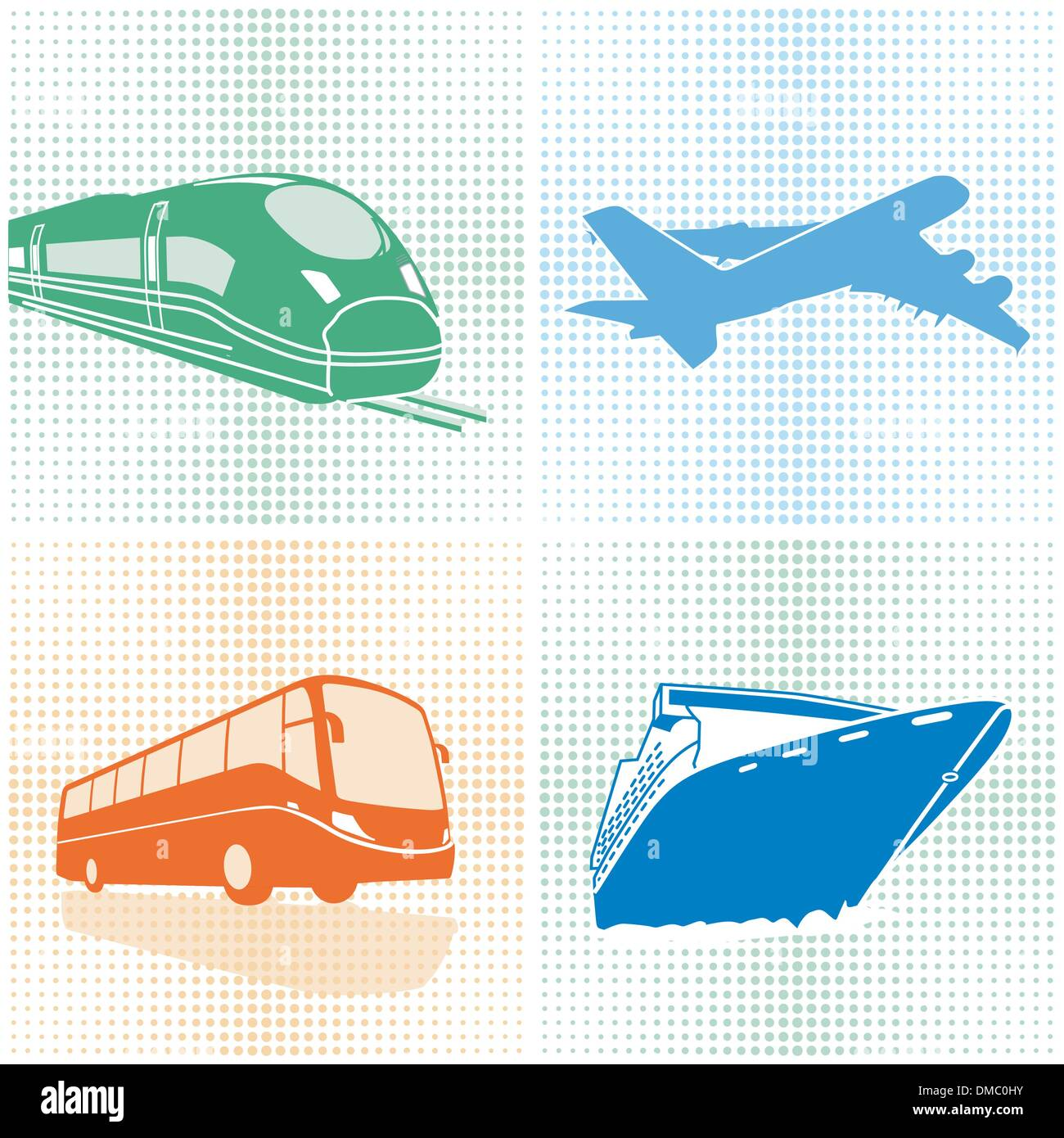 Airplane, bus, train, ship, transport Stock Vector