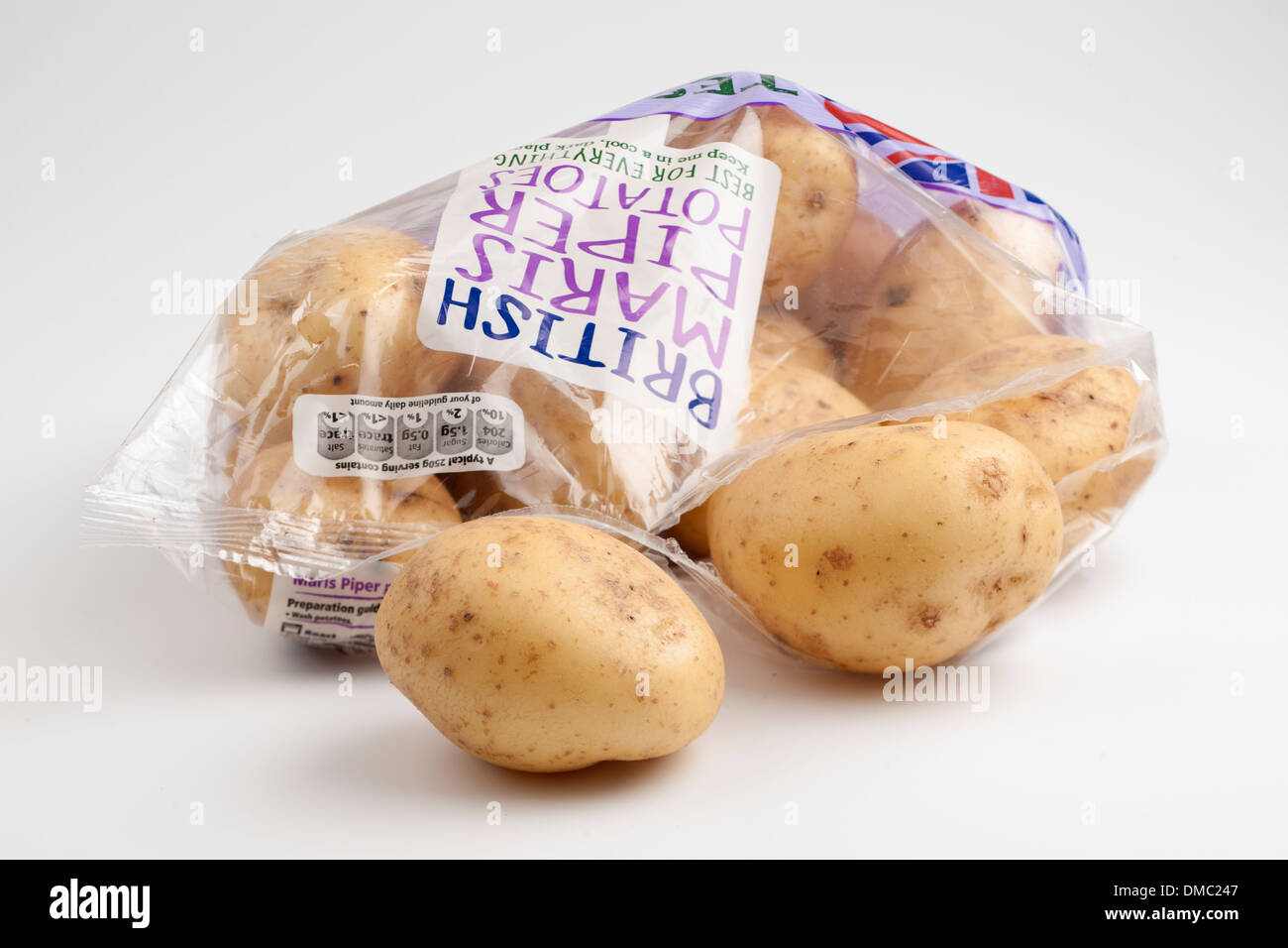 Bag of British Maris Piper potatoes - Stock Image