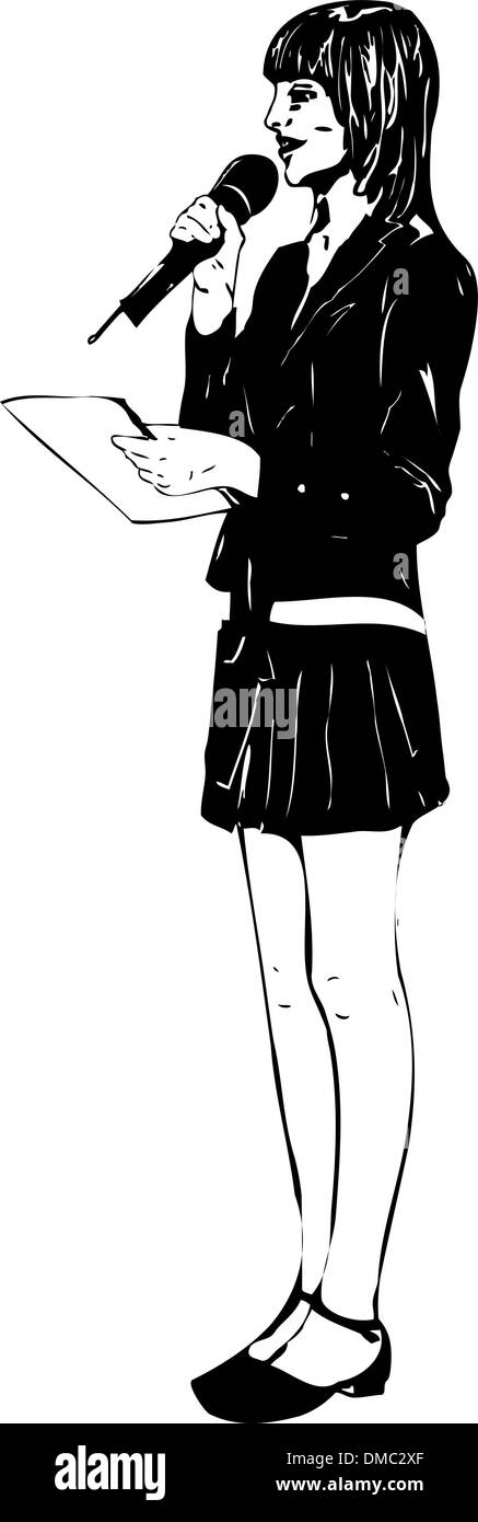 girl with microphone - Stock Vector