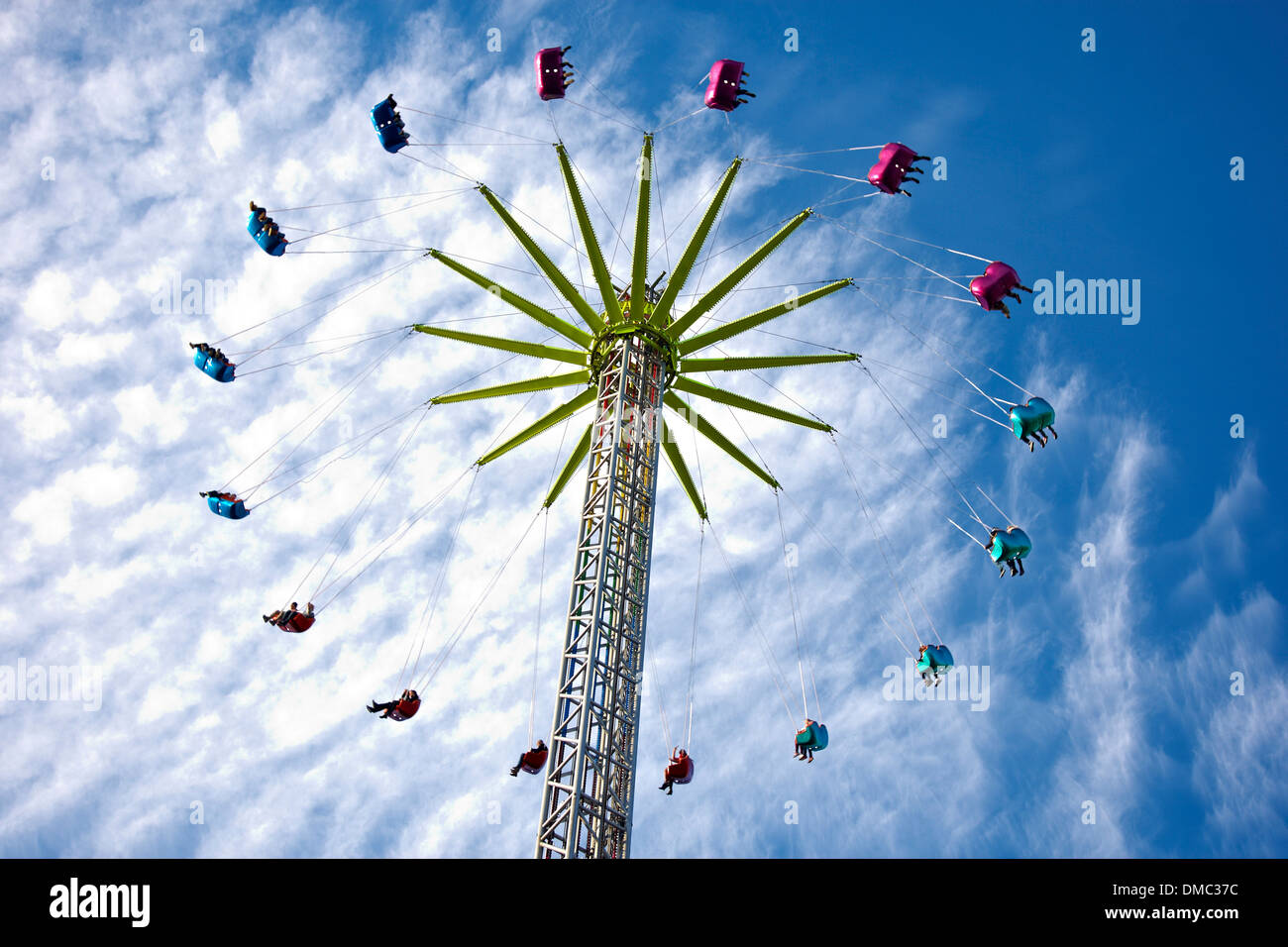 A high rise fun ride in Swansea ahead of Christmas - Stock Image