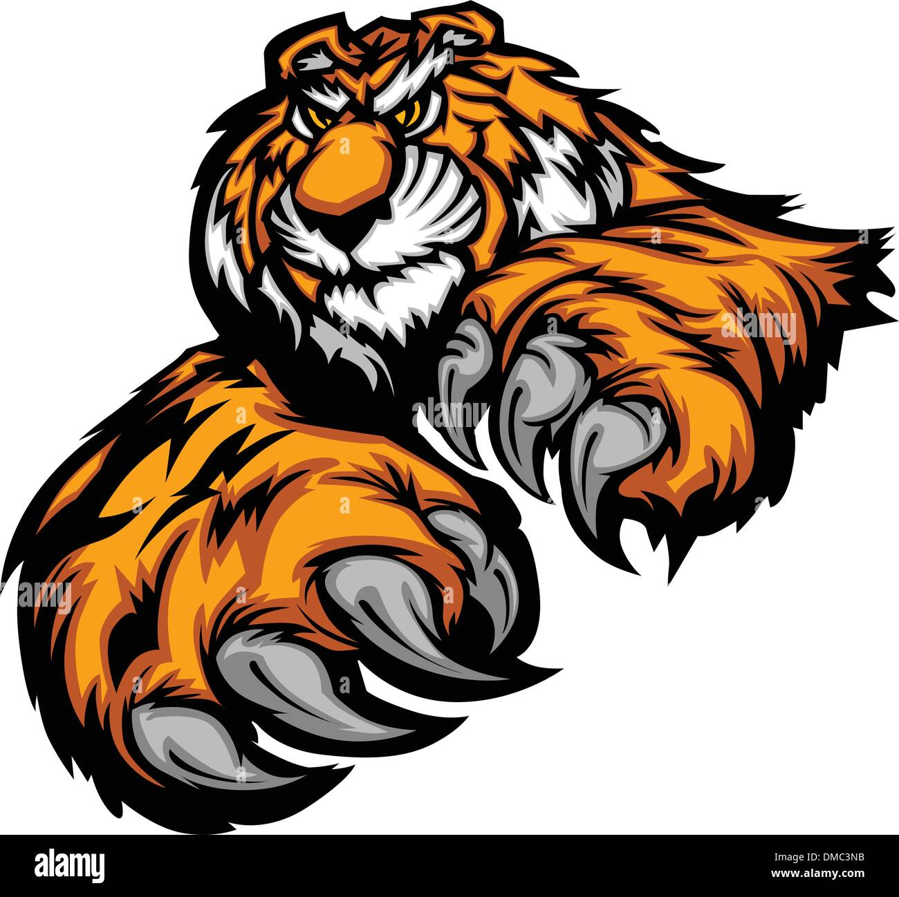 Tiger Mascot Body with Paws and Claws - Stock Vector