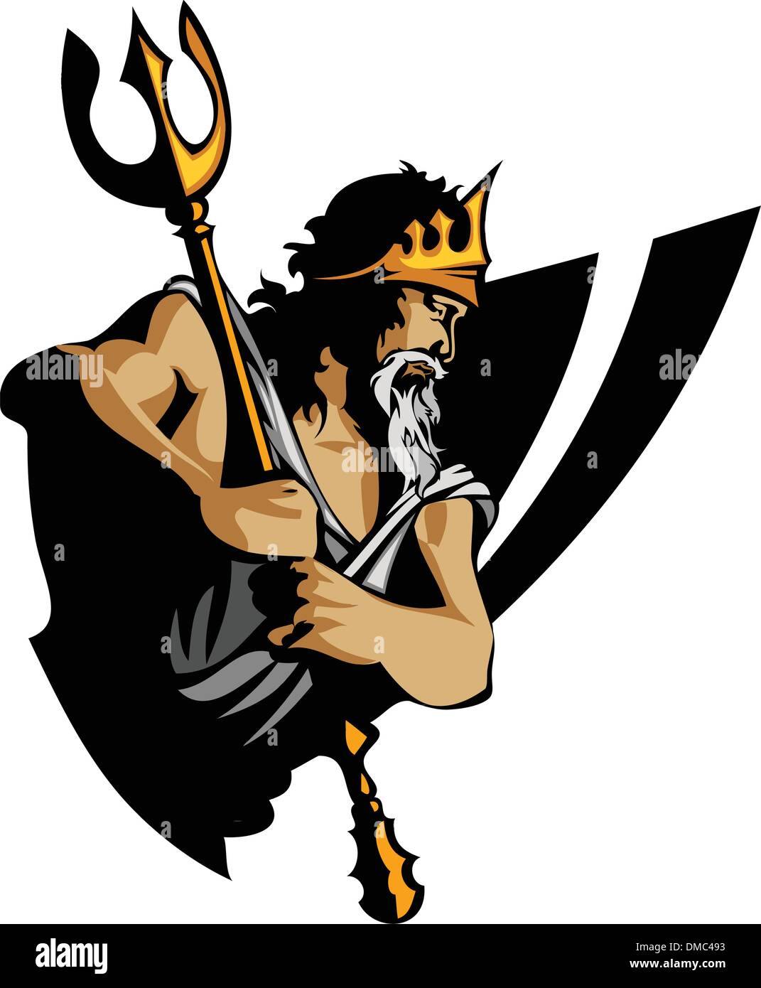 Titan Mascot with Trident and Crown Graphic Vector Illustration - Stock Image
