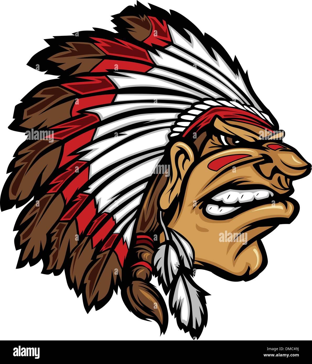 Indian Chief Mascot Head Cartoon Vector Graphic - Stock Image