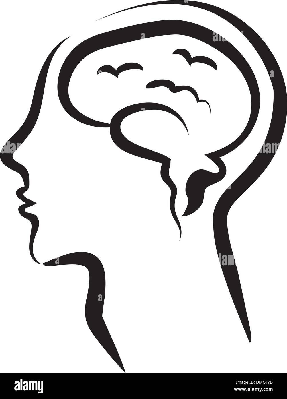 human brain in a silhouette head - Stock Image
