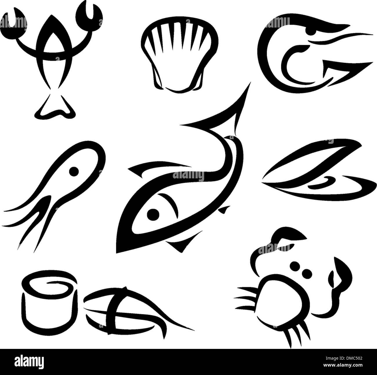big set of sea food symbols - Stock Image