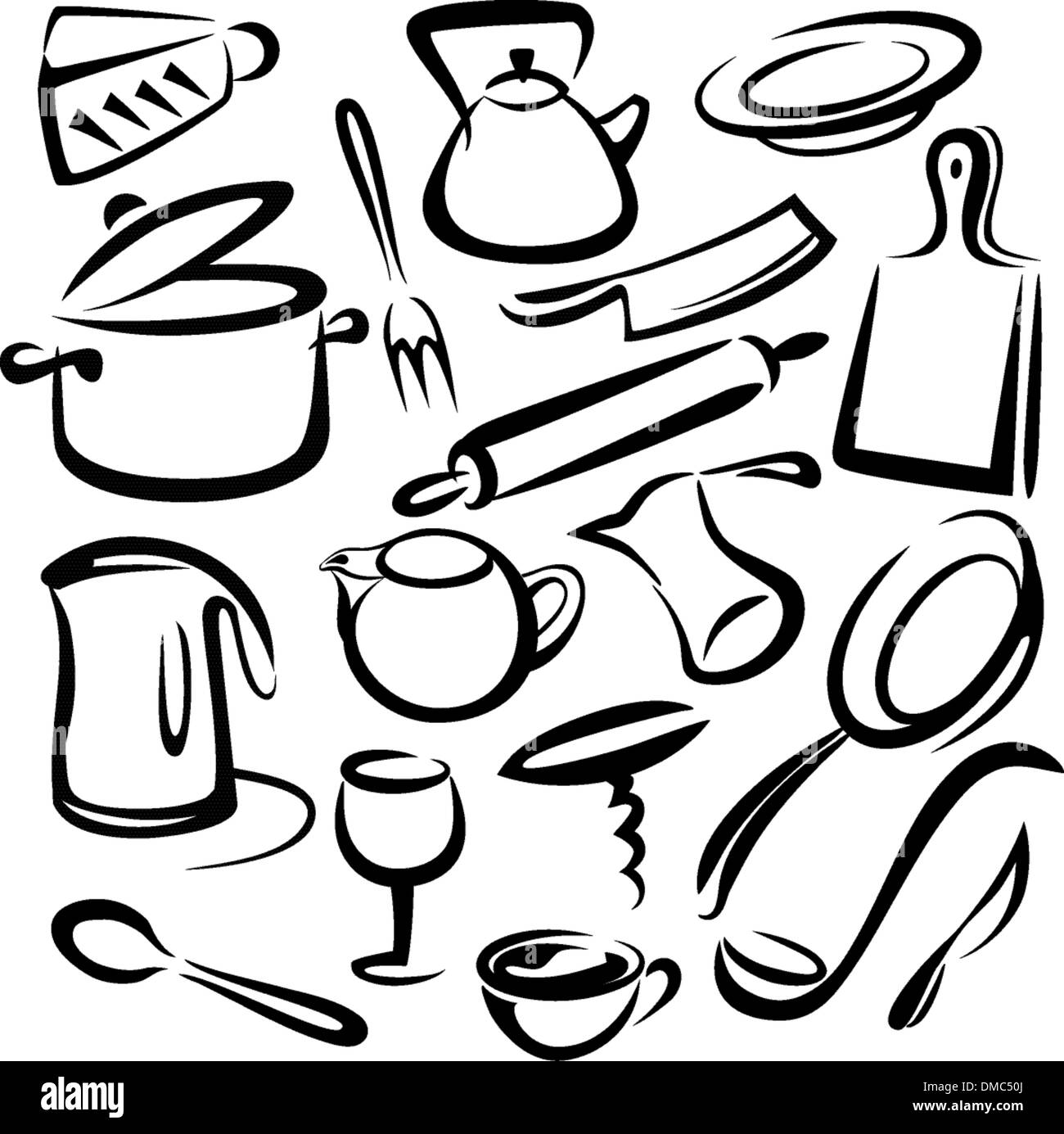 big set of kitchen tools, vector sketch in simple black lines Stock ...