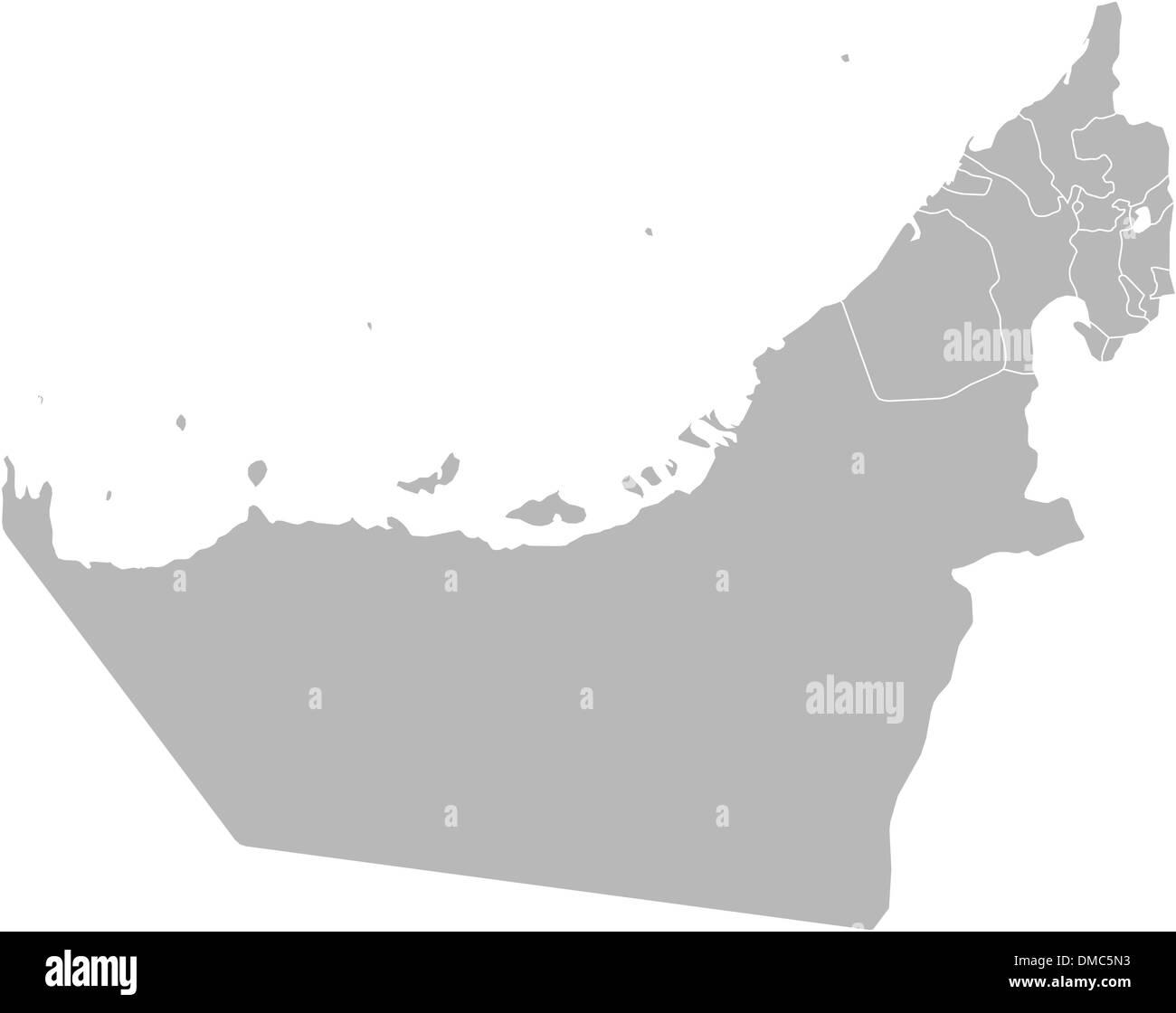 Map of the United Arab Emirates - Stock Image