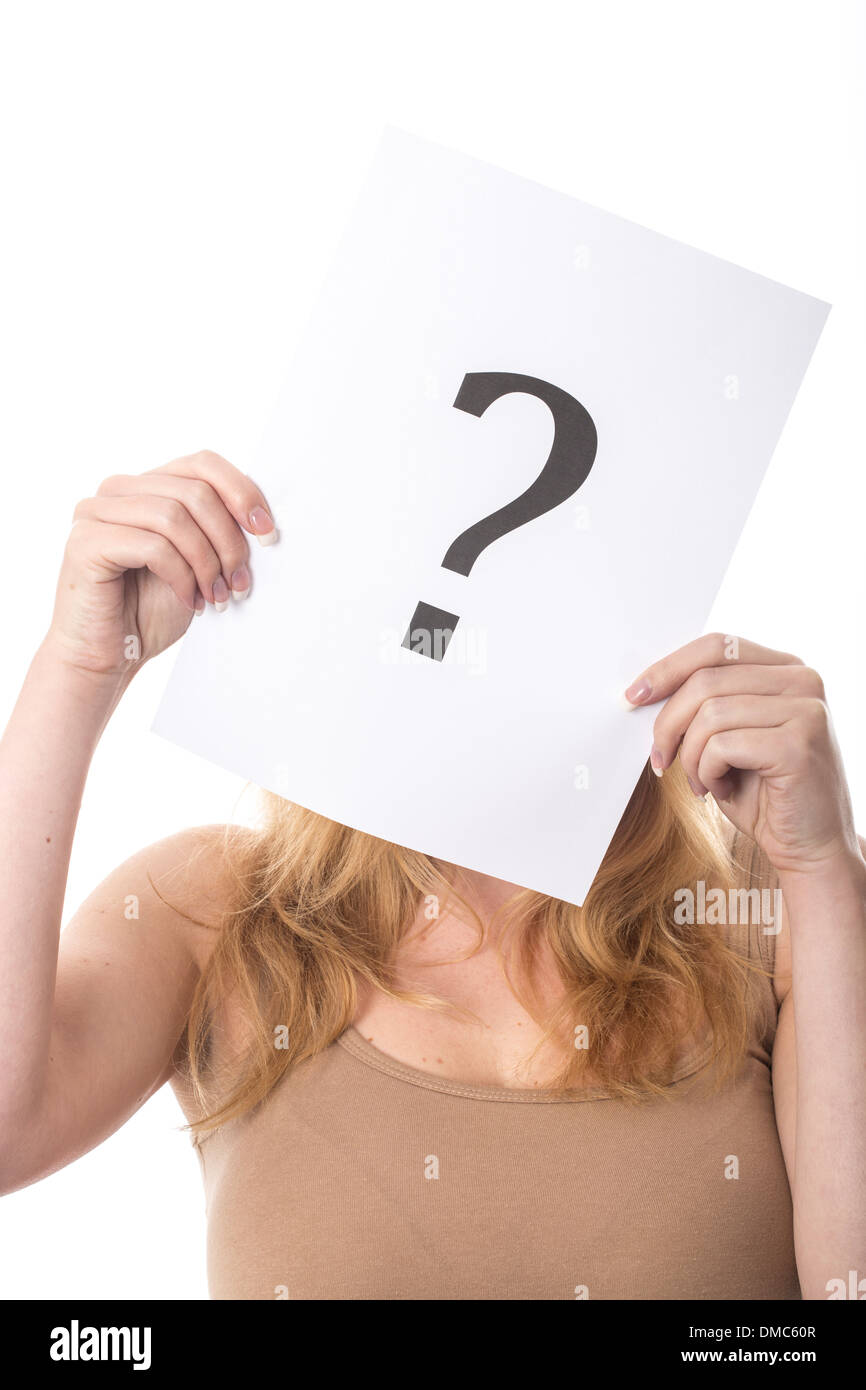 Young Woman Holding Question Mark - Stock Image