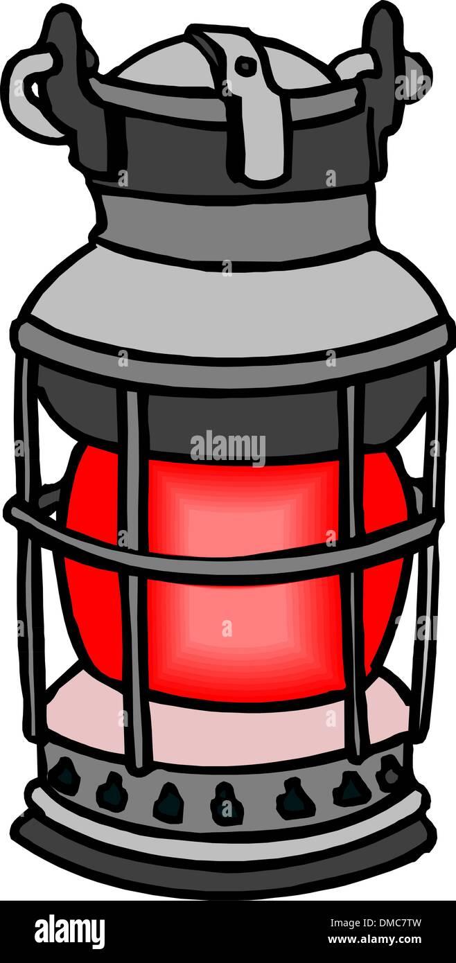 Old Kerosene Lamp - Stock Vector