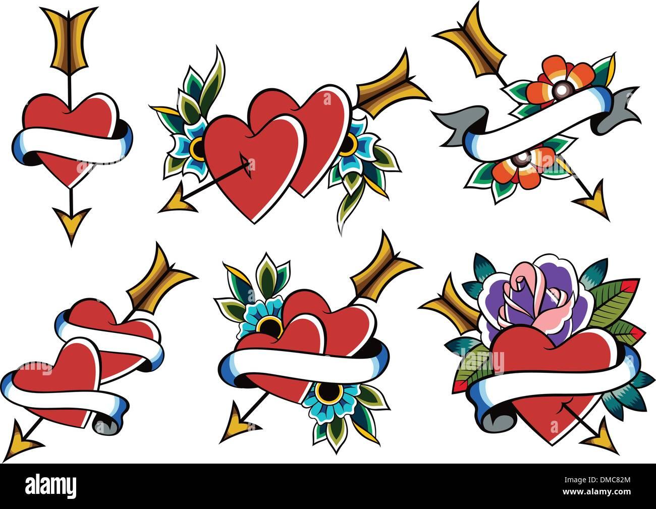 classic vintage heart tattoo stock vector art illustration vector rh alamy com vintage mom heart tattoo vintage heart lock tattoo