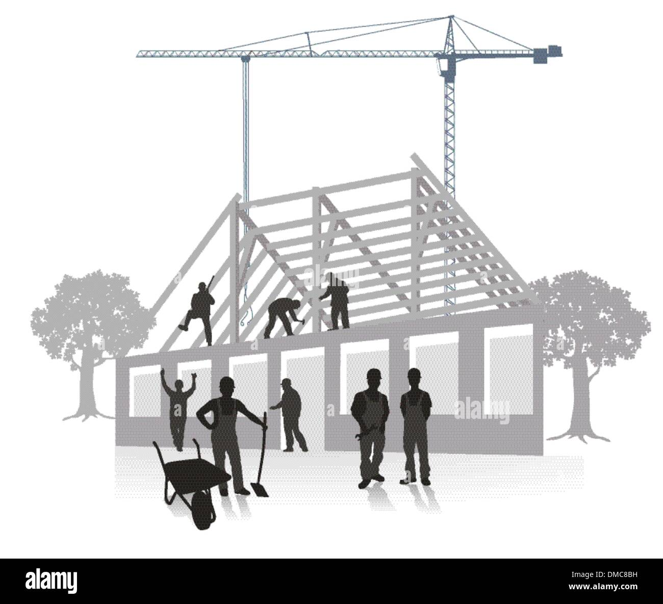 house building construction work - Stock Vector