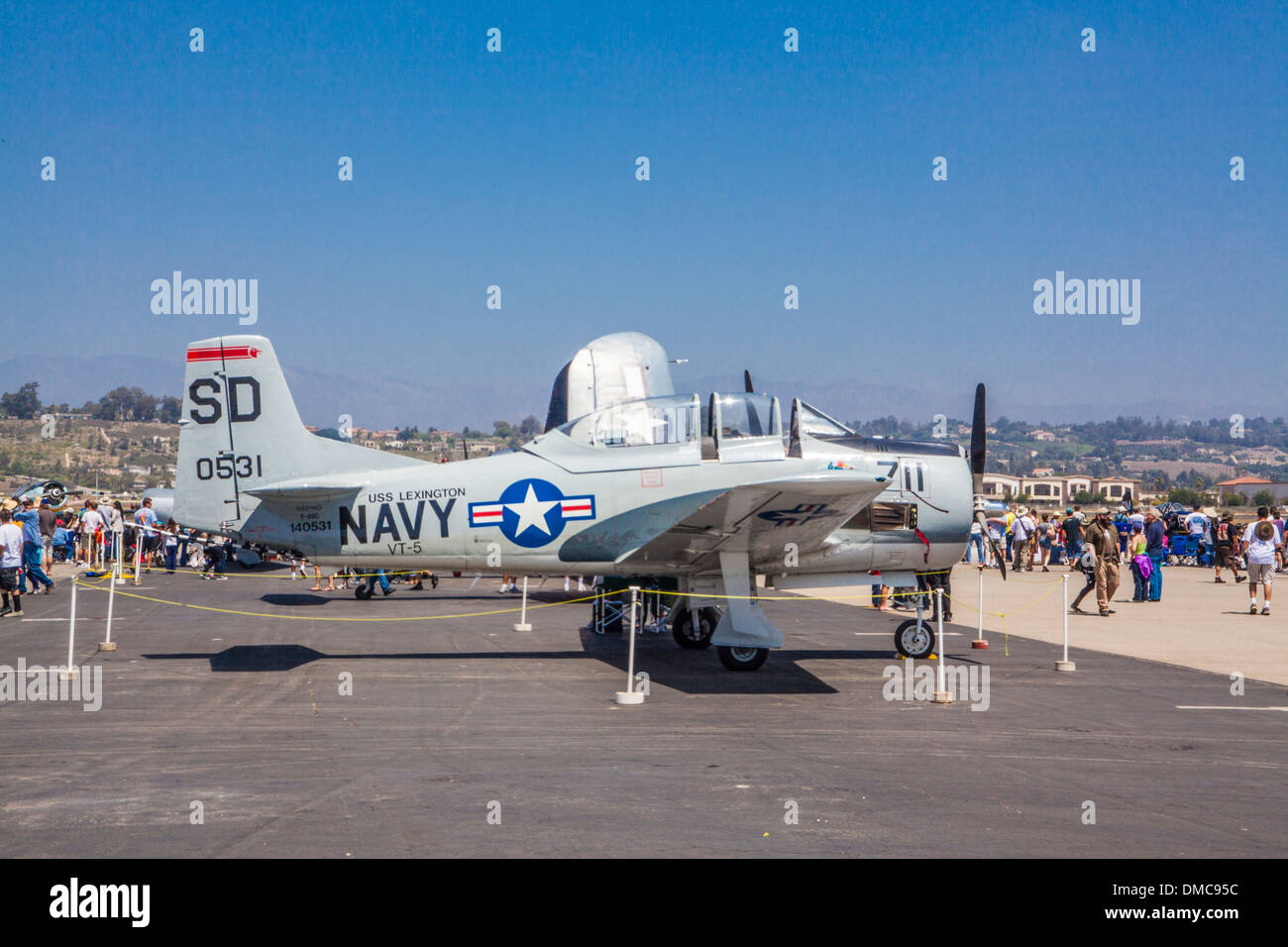 T-28 Trainer with bomb at The Wings over Camarillo Air Show In Camarillo California - Stock Image