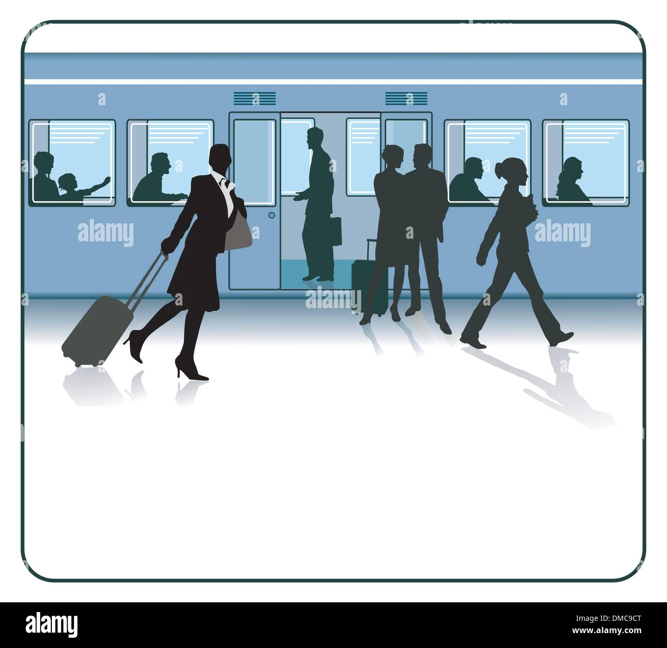 Travelers at the station - Stock Vector
